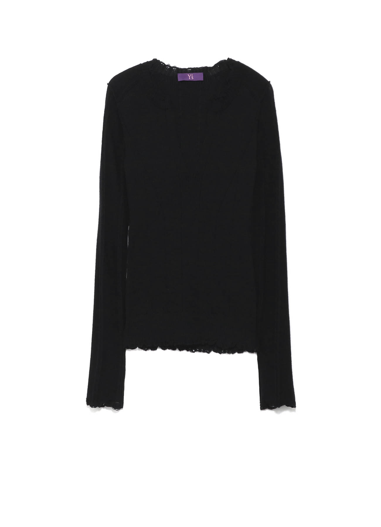 Y'sPINK AUTHENTICO WOOL DAMAGED KNIT