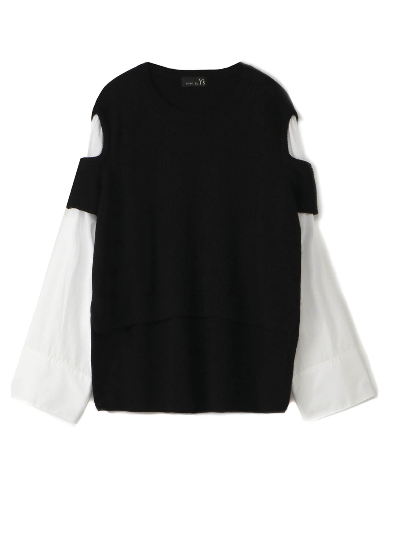 RISMATbyY's WOOL HALF SHOULDER HOLE PULL OVER WITH SHIRT