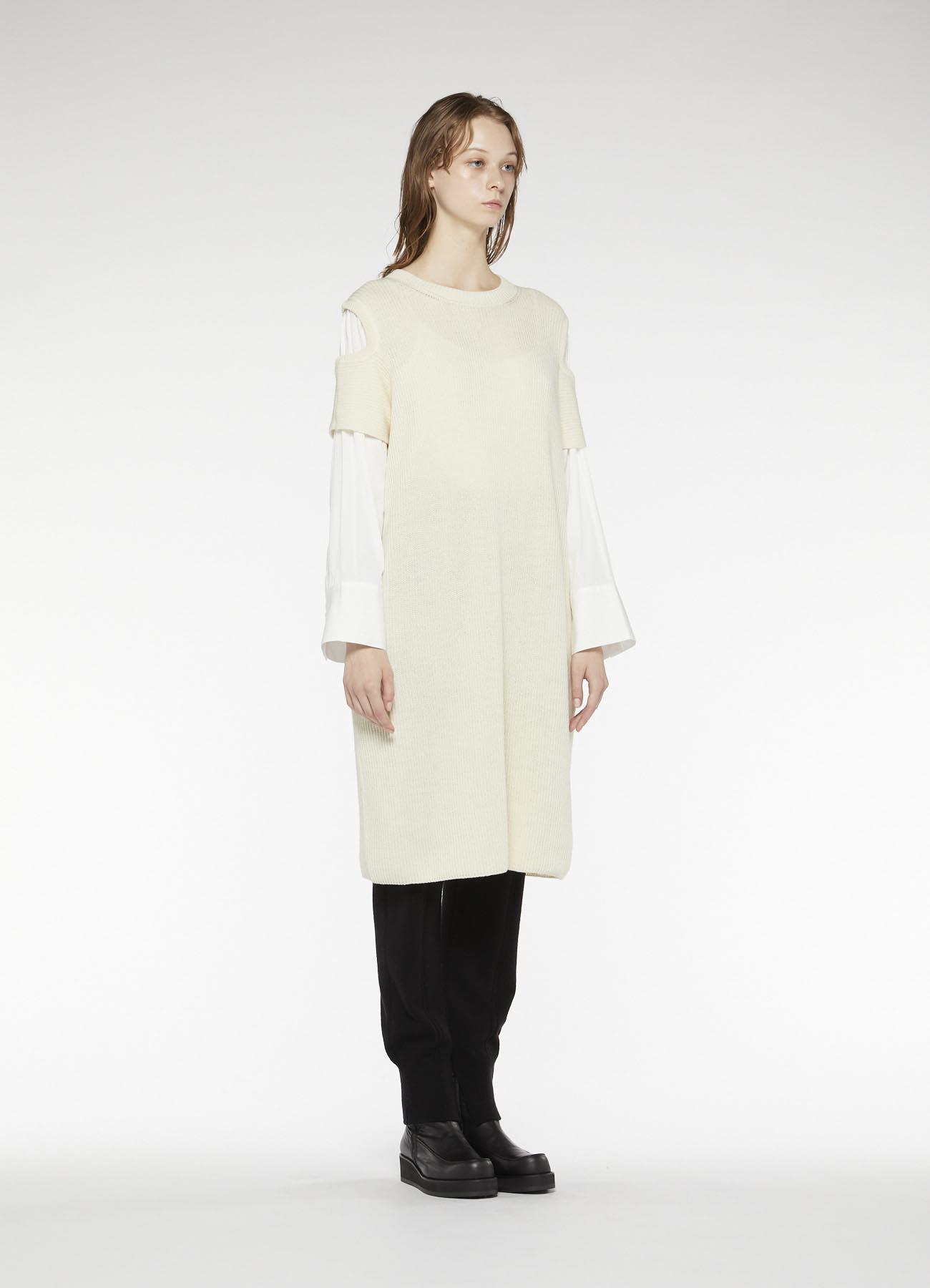 RISMATbyY's WOOL SHOULDER HOLE DRESS WITH SHIRT