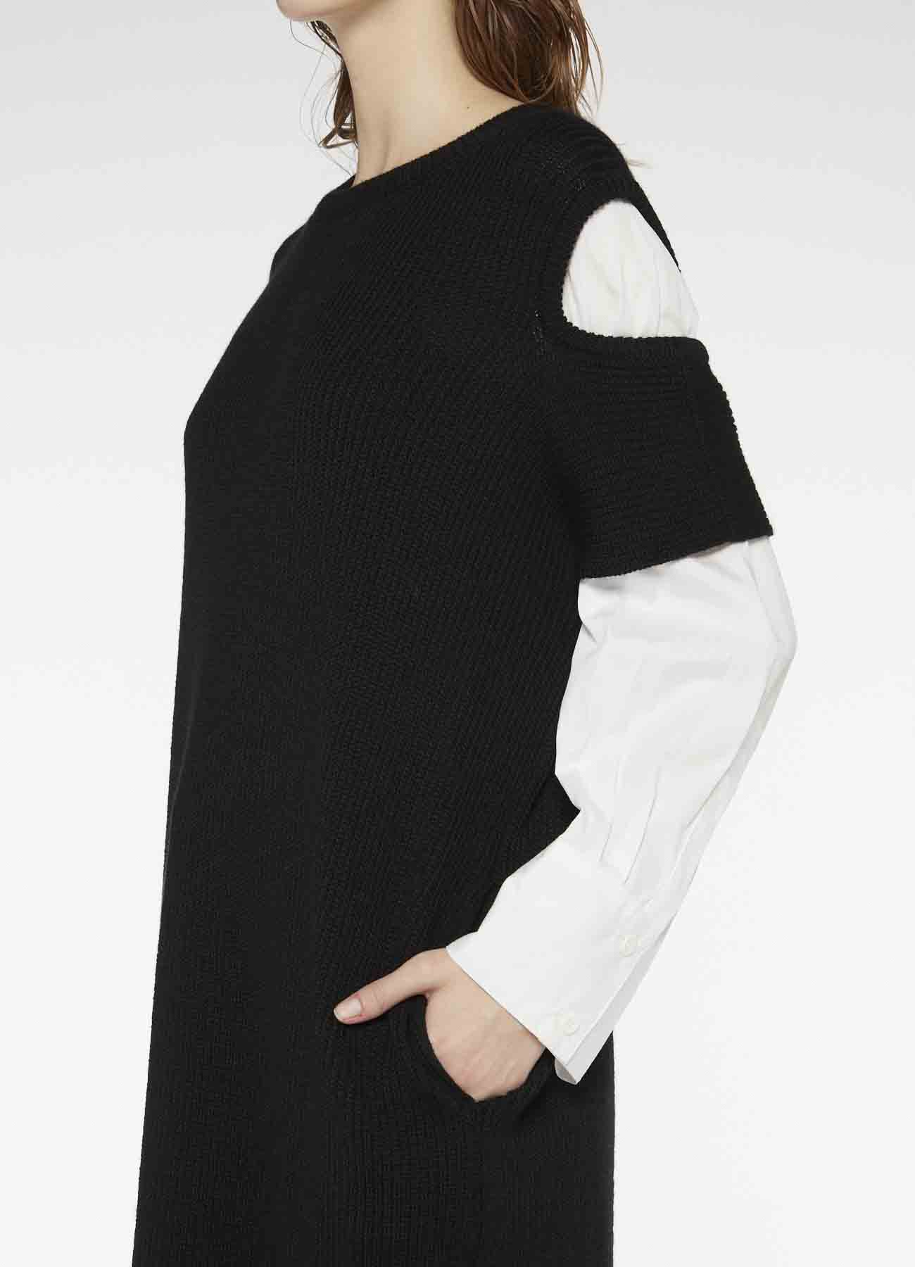RISMATbyY's WOOL SHOULDER HOLE DRESS WITH SHIRT