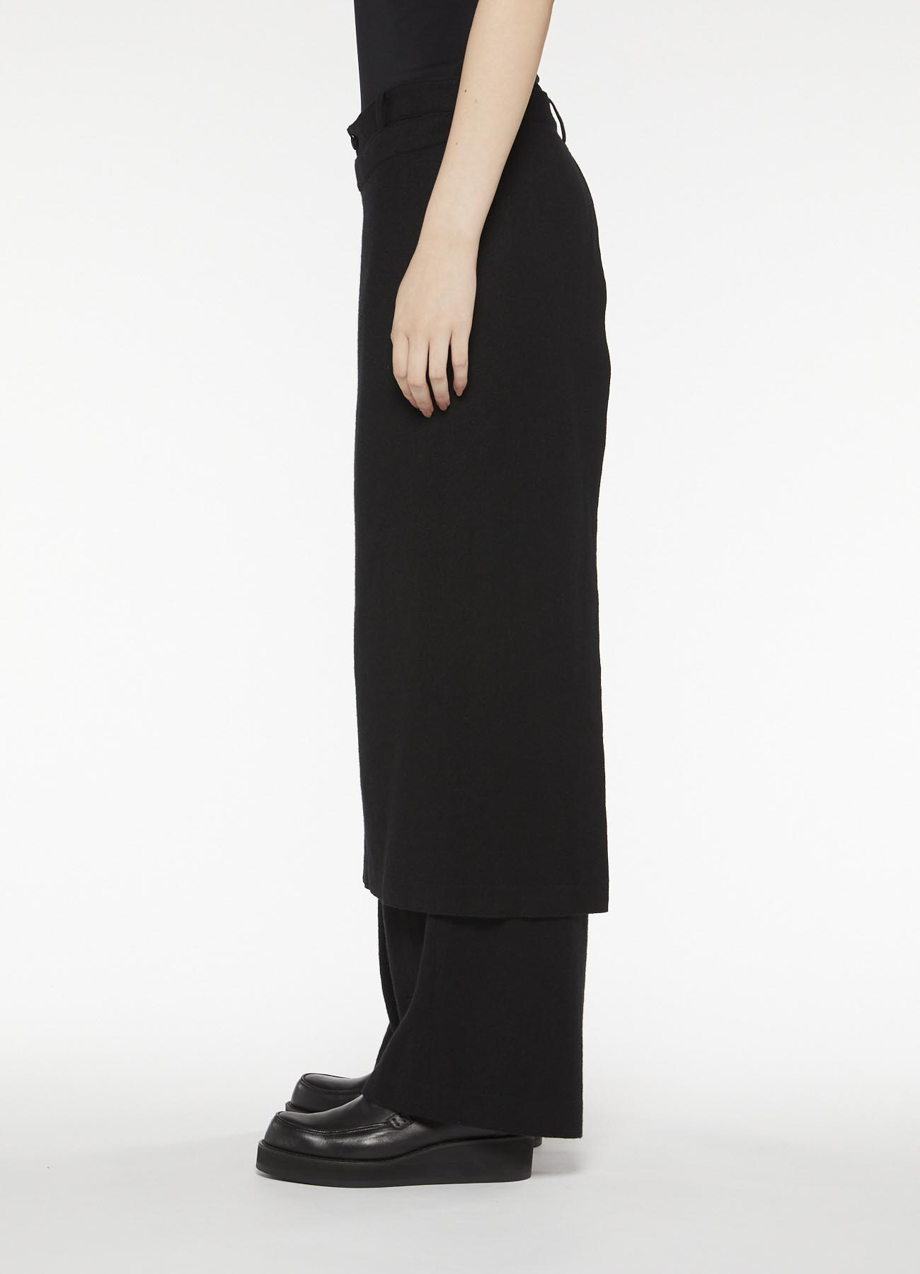 RISMATbyY's YARN DYED MODAL WOOL TWILL COMBI WIDE PANTS