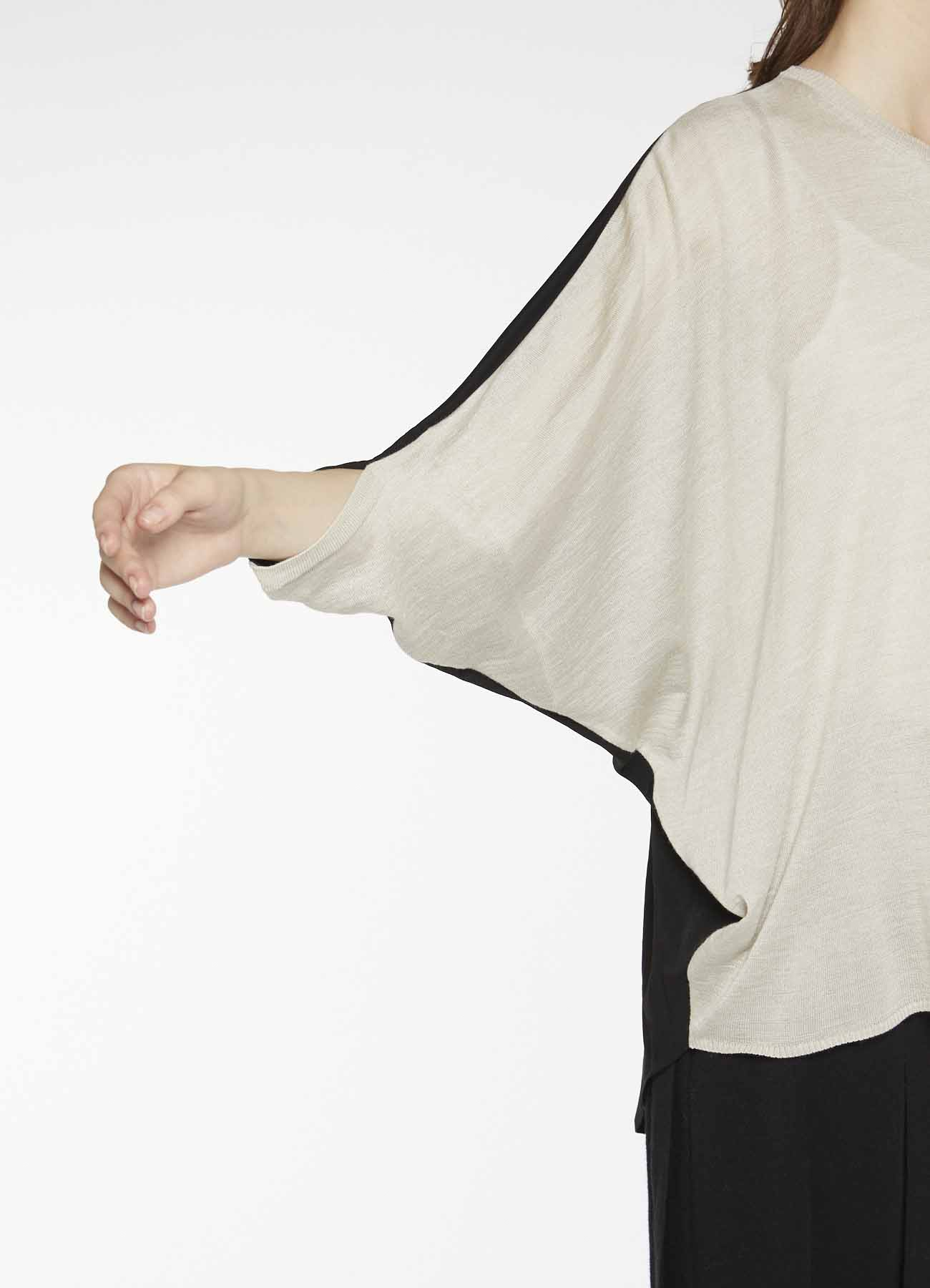 RISMATbyY's DESIGNED SLEEVE ASYMMETRICAL PULL OVER