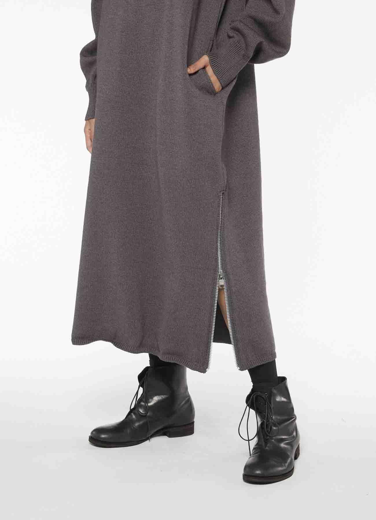 RISMATbyY's POLYESTER WOOL ZIP DRESS