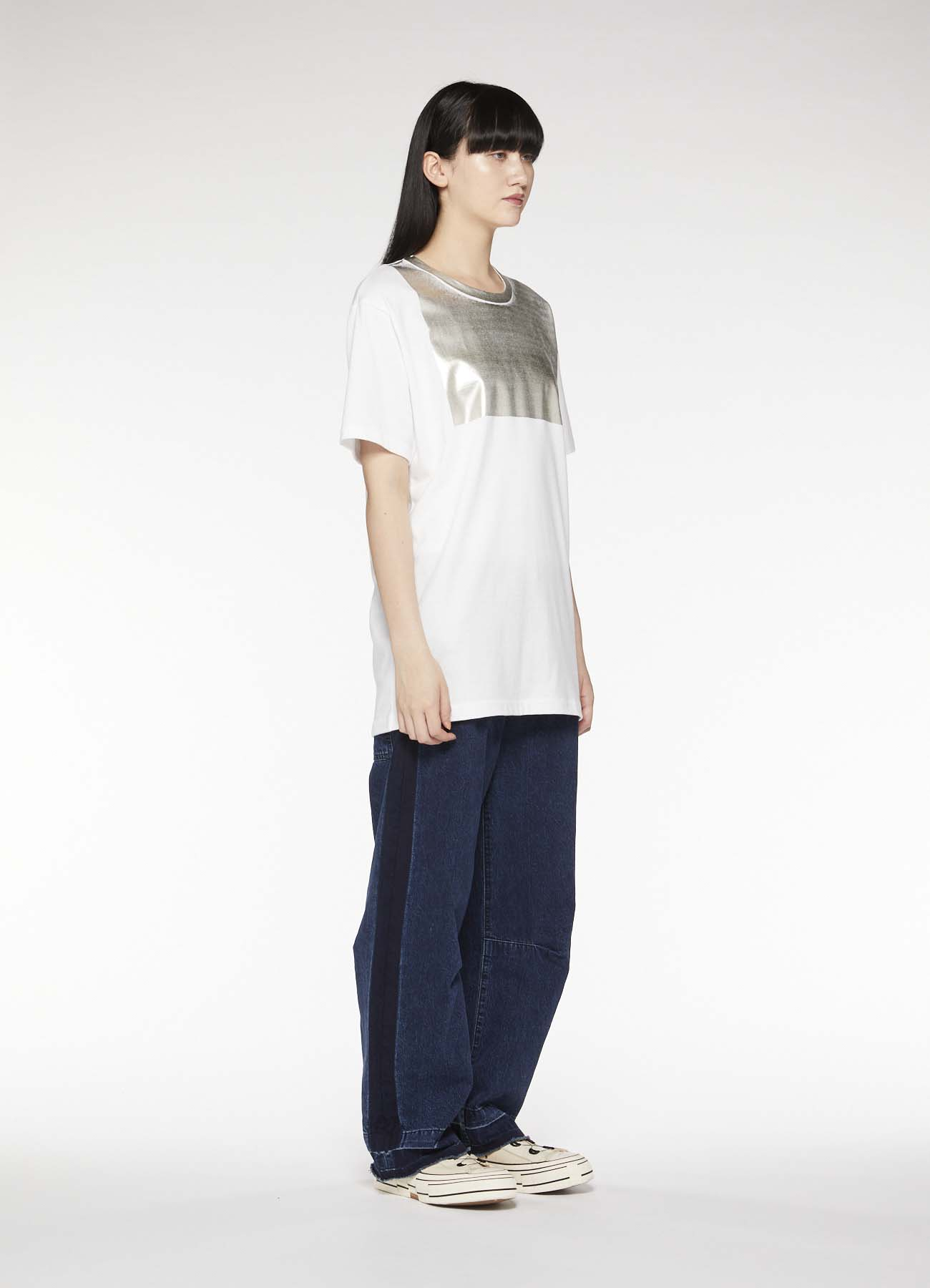 DENIM GUSSET WIDE PANTS