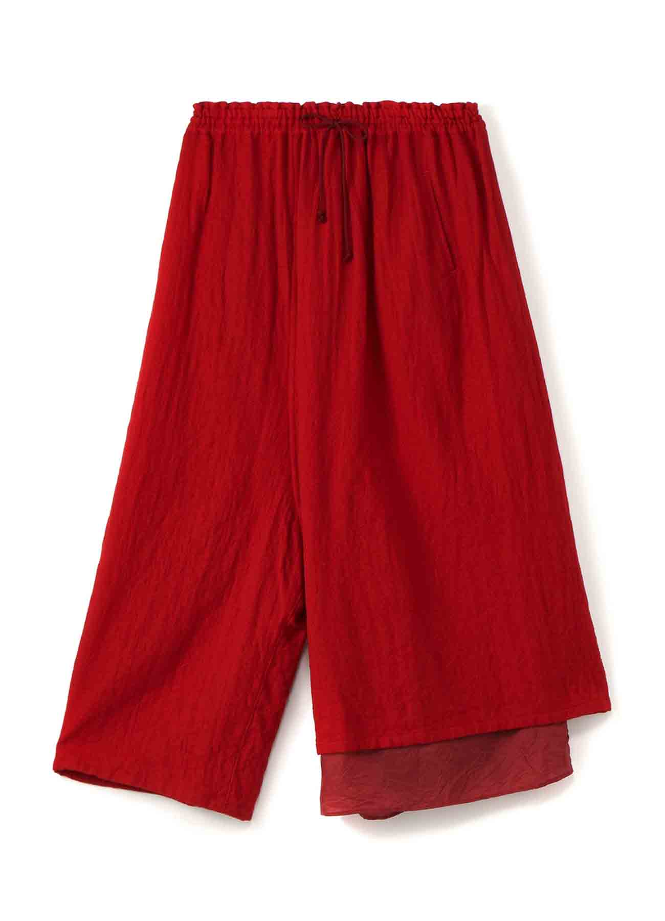 WOOL ROUGH TWILL GARMENT MILLING LEFT LAYERED STRING PANTS