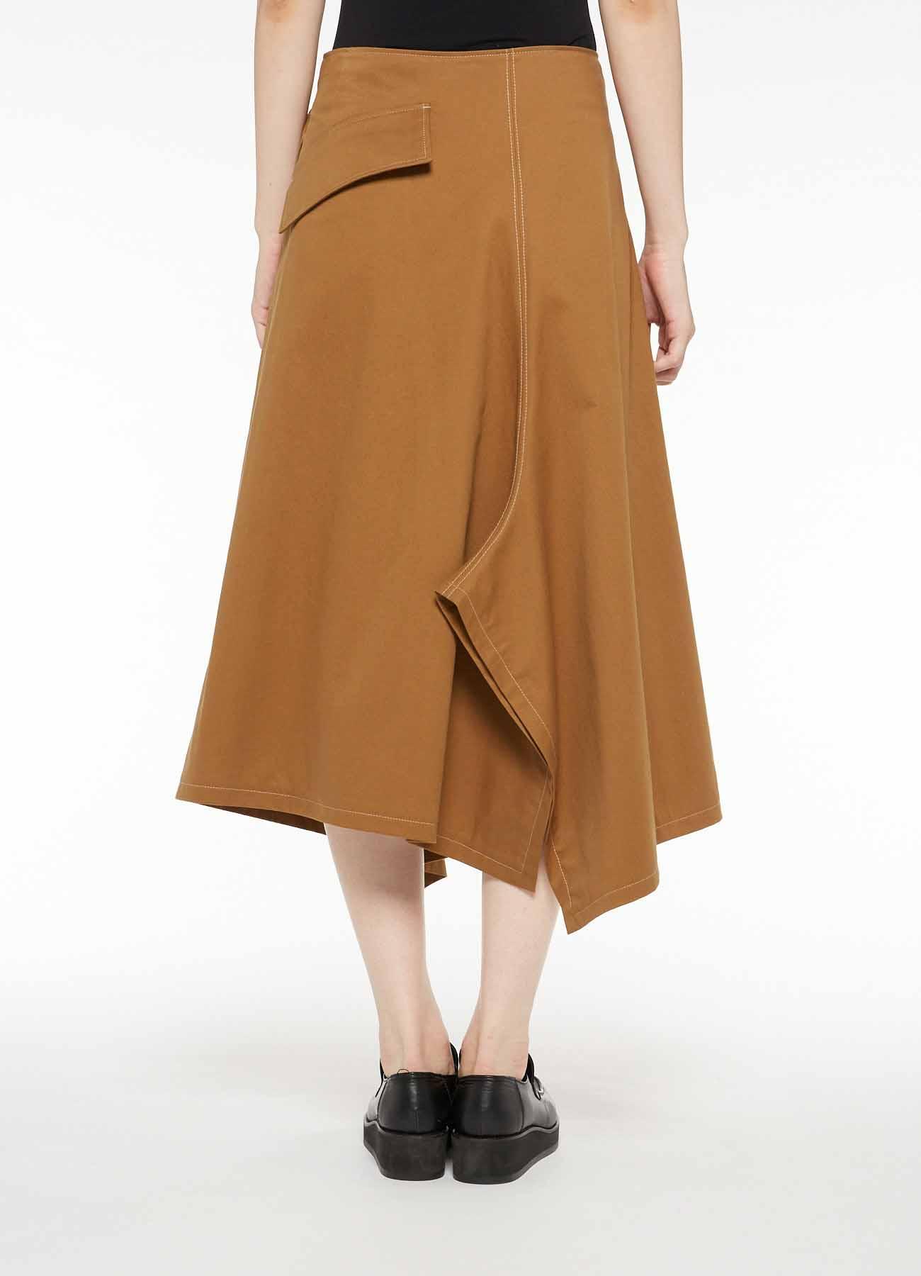 SOFT CHINO CLOTH ASYMMETRICAL LEFT BELT SKIRT