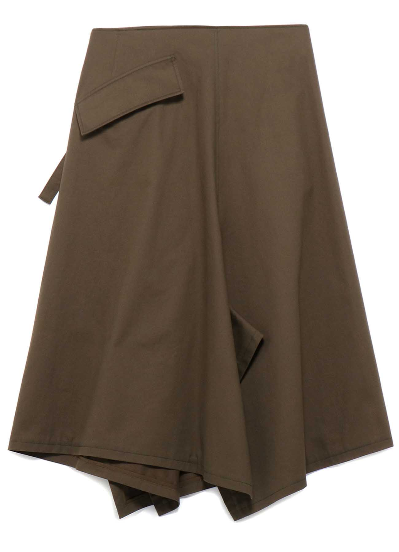 SOFT CHINO CLOTH ASYMMETRICAL LEFT BELT SKIRT