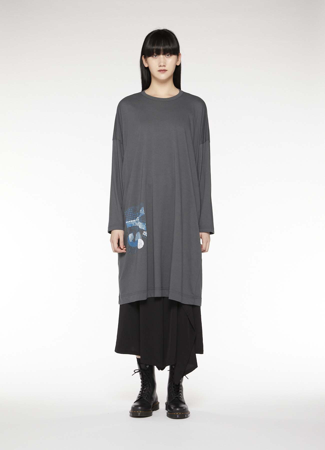 COTTON COLLAGE PRINT LONG SLEEVE DRESS