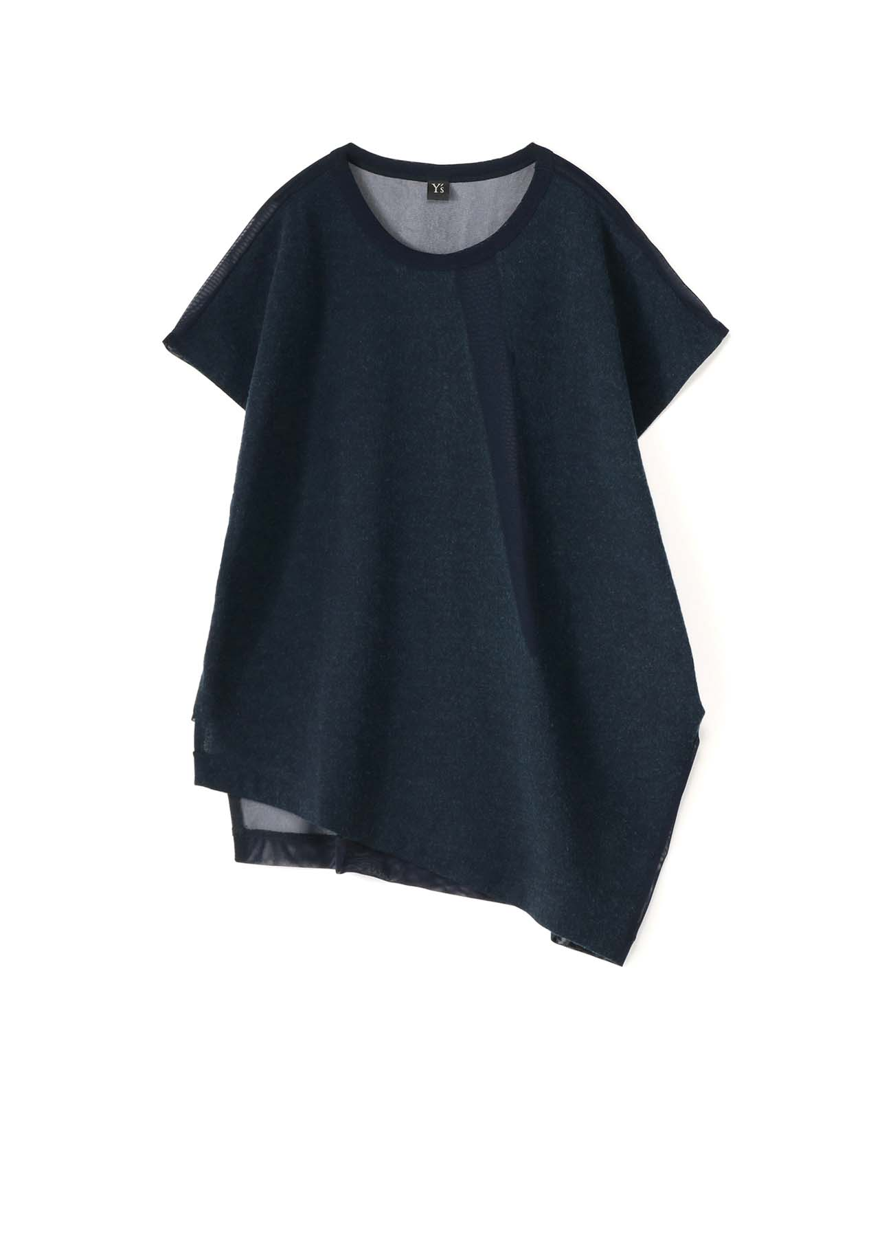 POLYESTER TULLE x WOOL NEEDLE PUNCH UNBALANCE T-SHIRT