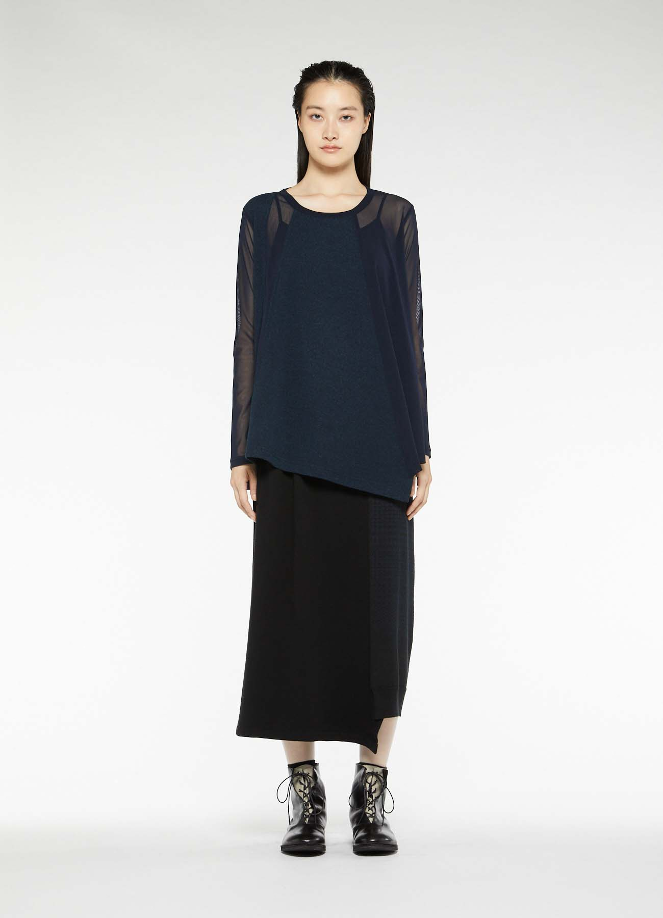 POLYESTER TULLE x WOOL NEEDLE PUNCH HEM FLARE LONG SLEEVE T-SHIRT