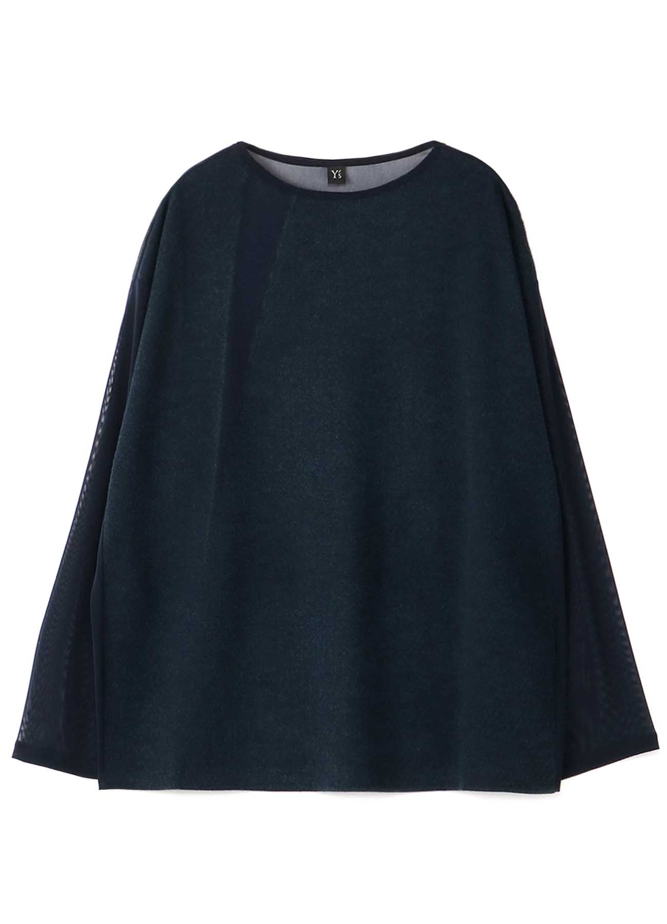POLYESTER TULLE x WOOL NEEDLE PUNCH BOAT NECK BIG T-SHIRT