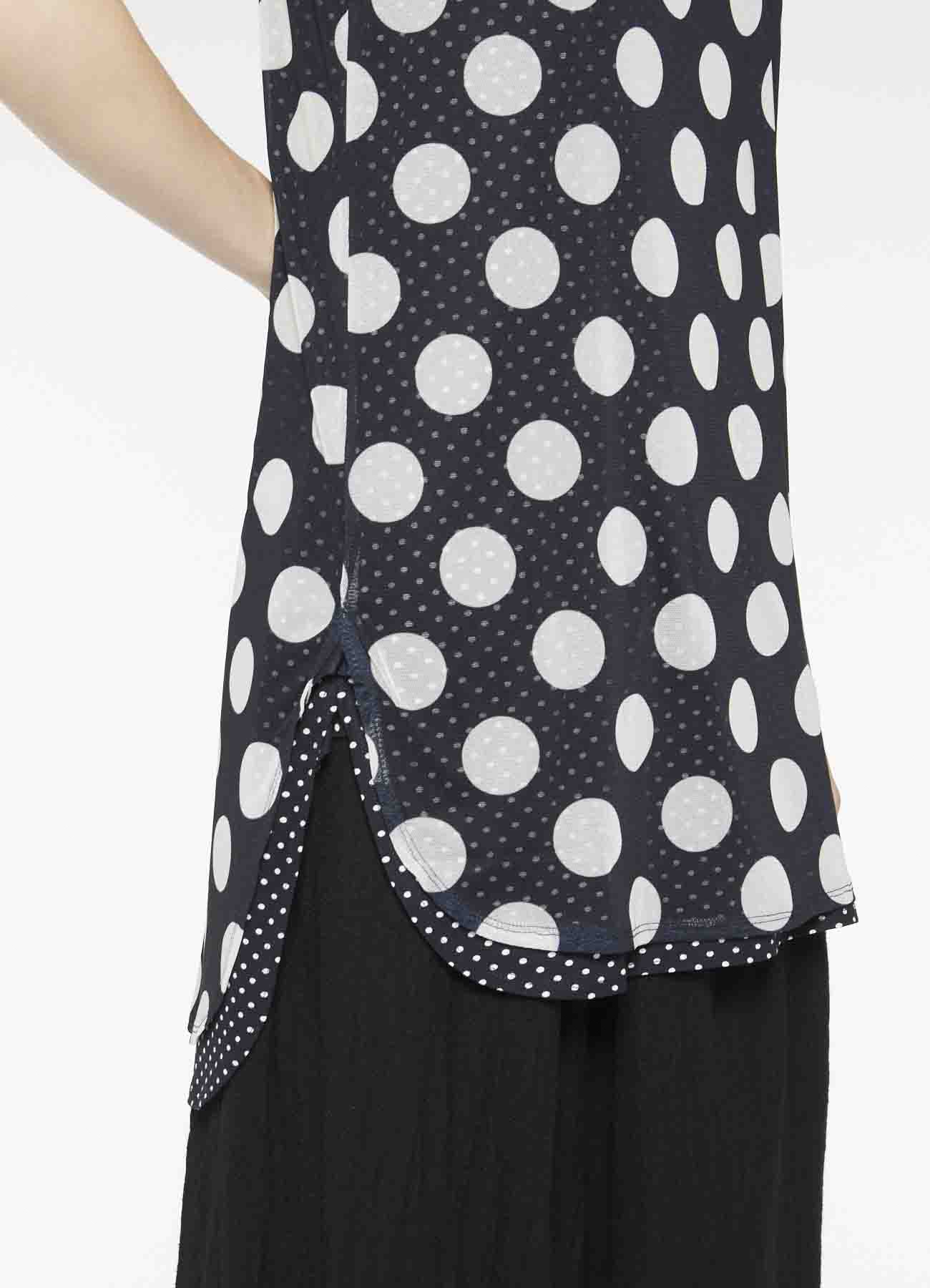 POLYESTER TULLE x COTTON DOT PRINT DOUBLE SLVLESS