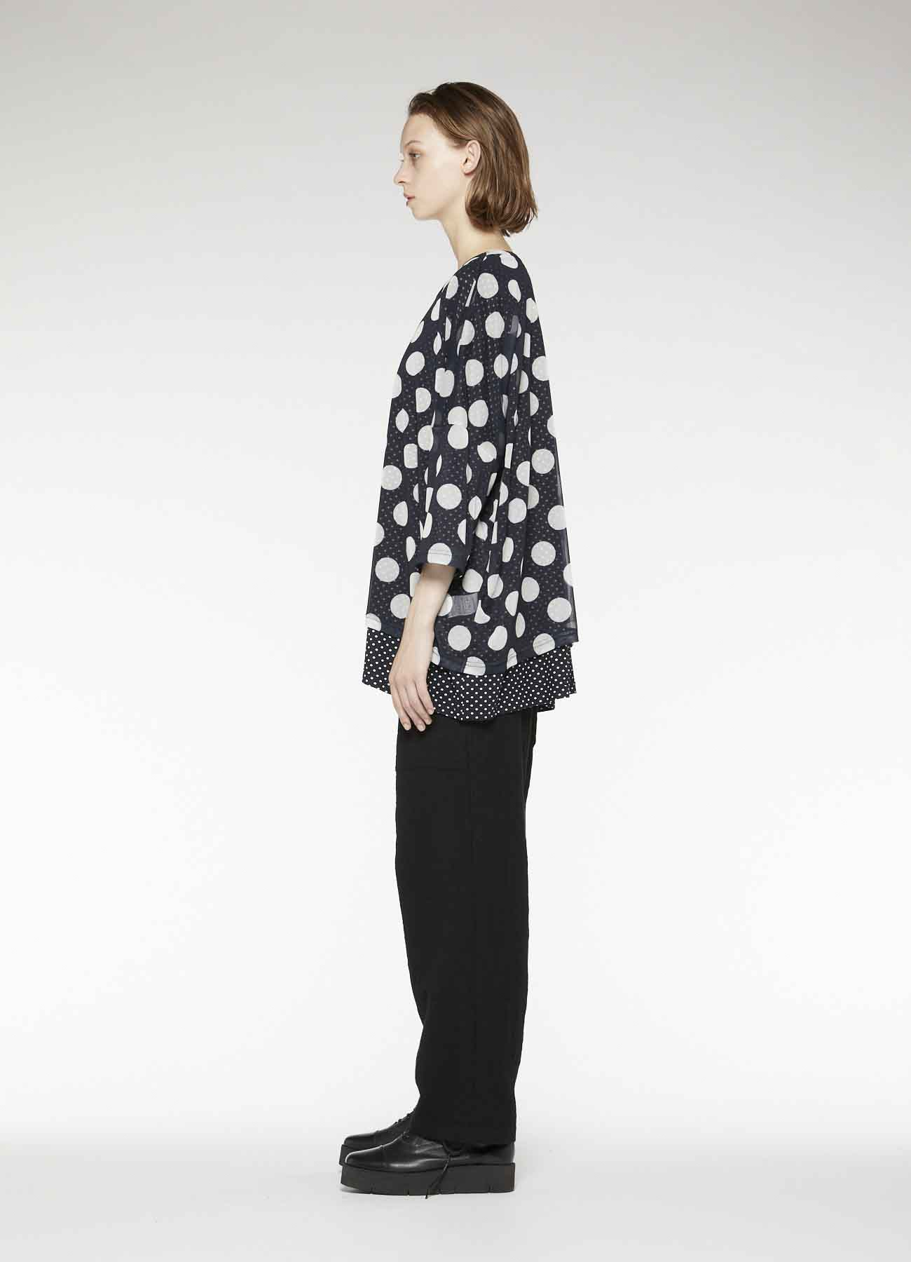 POLYESTER TULLE x COTTON DOT PRINT DOUBLE BIG T-SHIRT