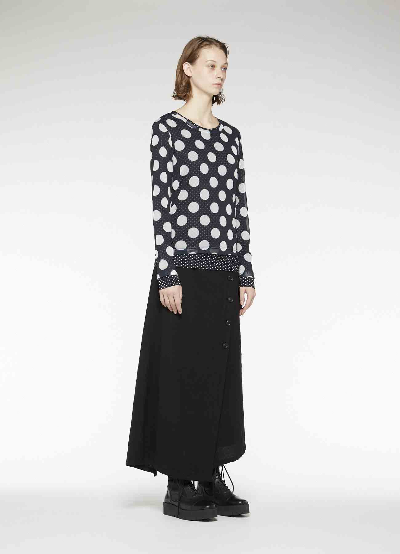 POLYESTER TULLE x COTTON DOT PRINT DOUBLE LONG SLEEVE T-SHIRT