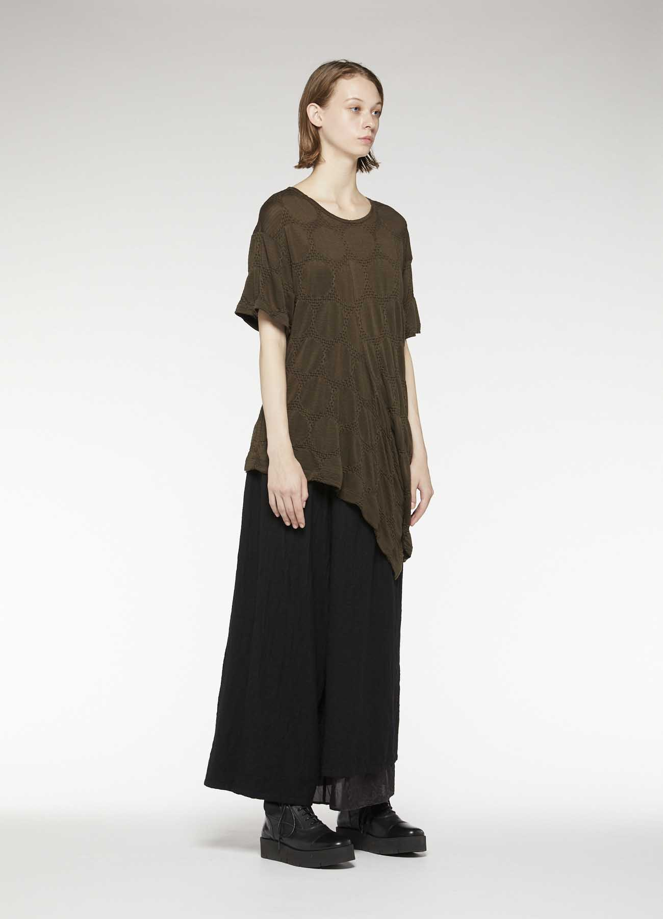 TENCEL DOT TUCK JACQUARD DRAPE SHORT SLEEVE T-SHIRT