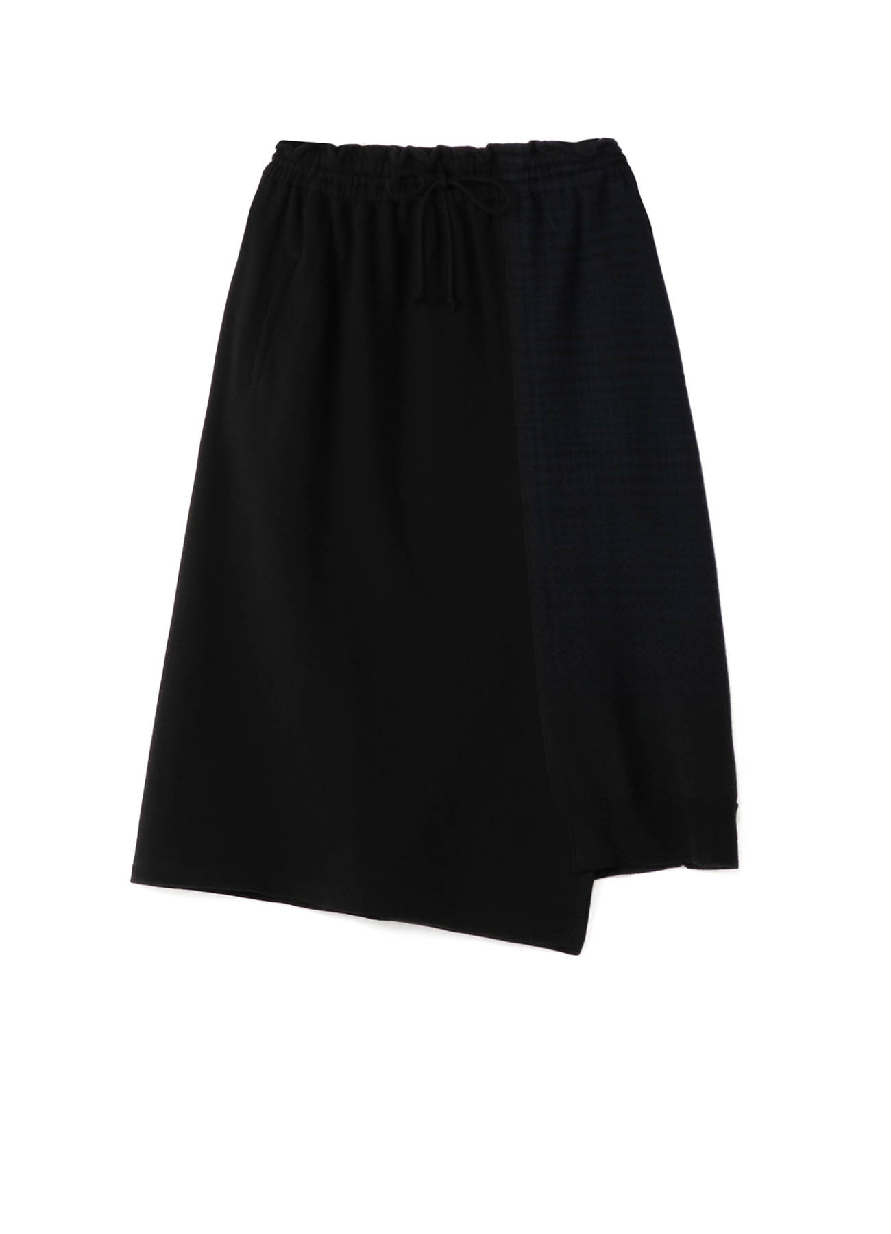 COTTON x FLEECY + GLEN CHECK JACQUARD UNBALANCE GATHER SKIRT