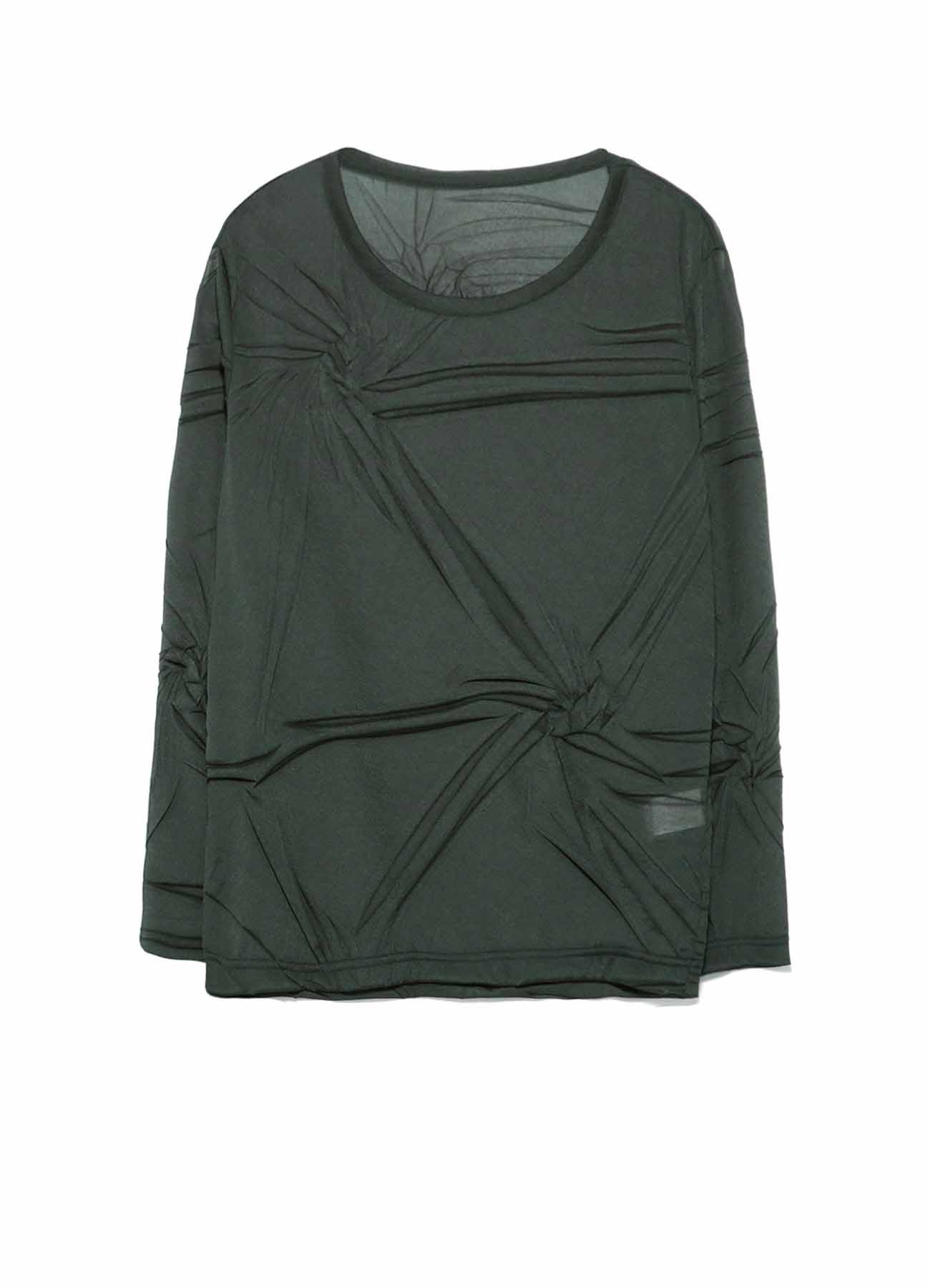 RANDOM WRINKLE PLEATS ROUND NECK LONG SLEEVE