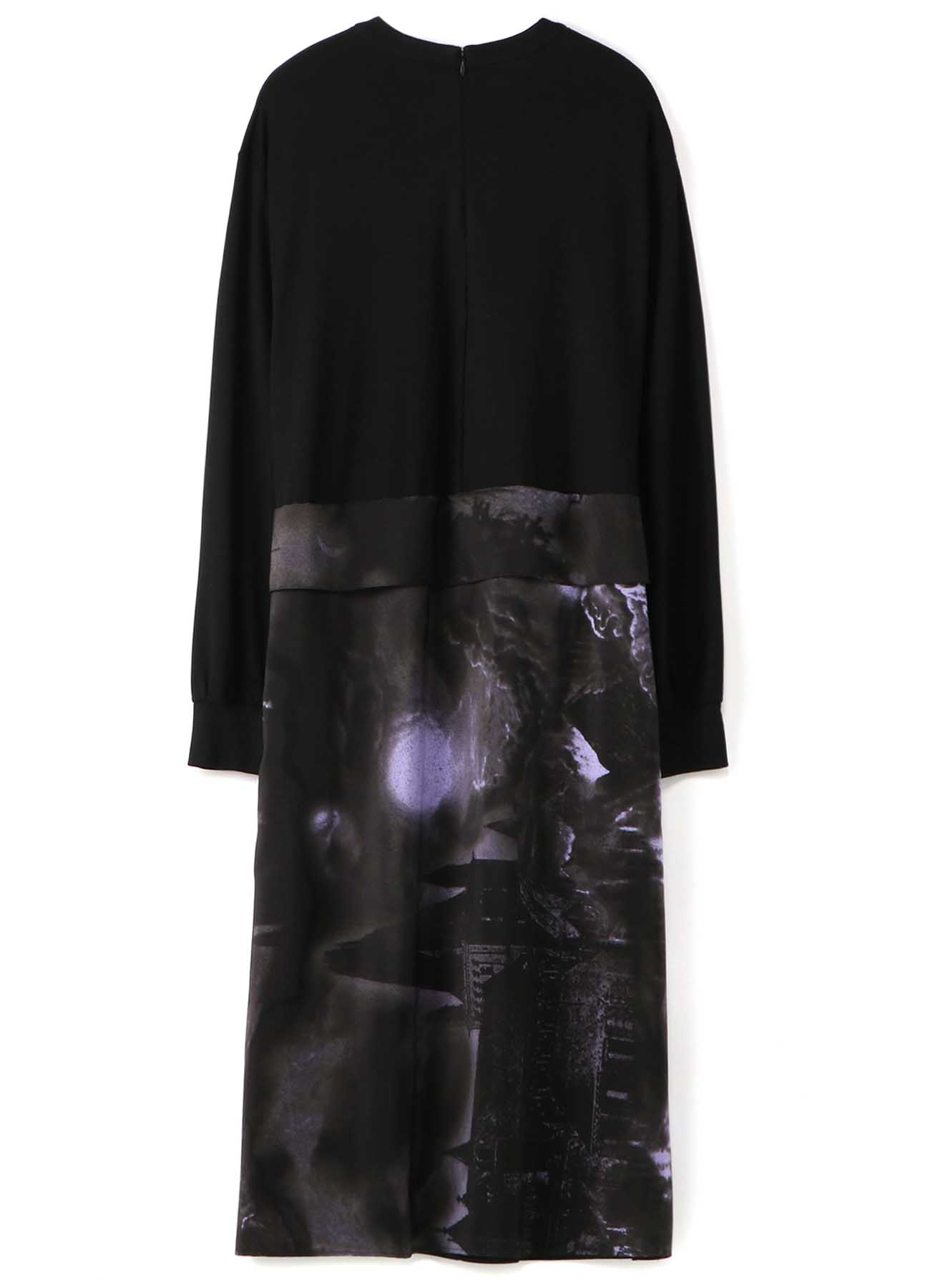 Y'sPINK RAYON x CASTLE PRINT POLYESTER WRAP CUT DRESS