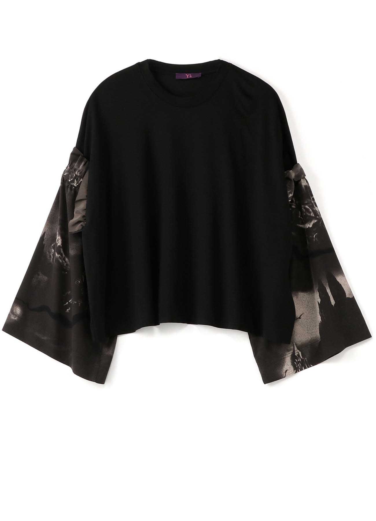 Y'sPINK RAYON x CASTLE PRINT POLYESTER DETACHABLE SLEEVE T-SHIRT