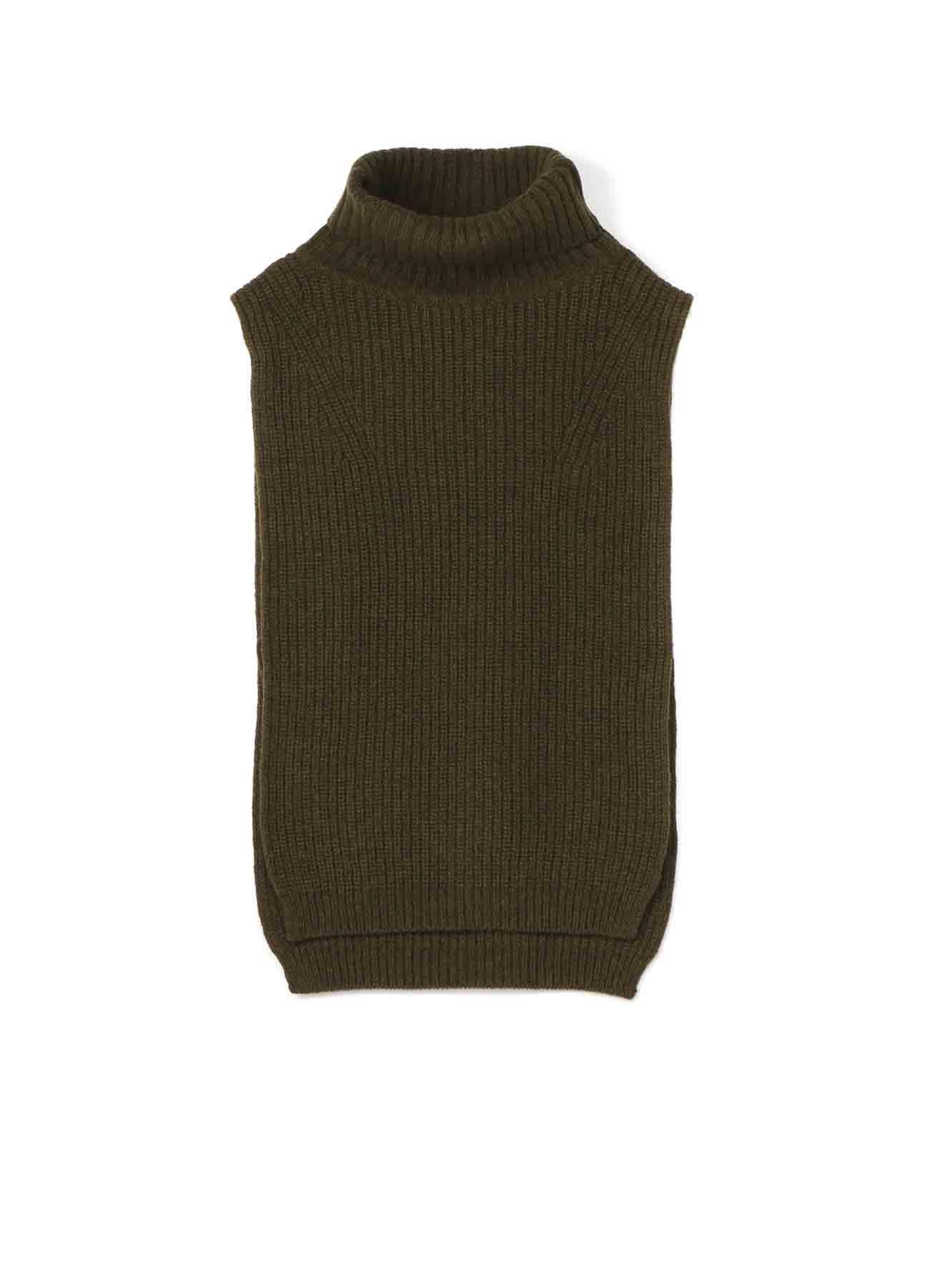 羊毛高领披风背心