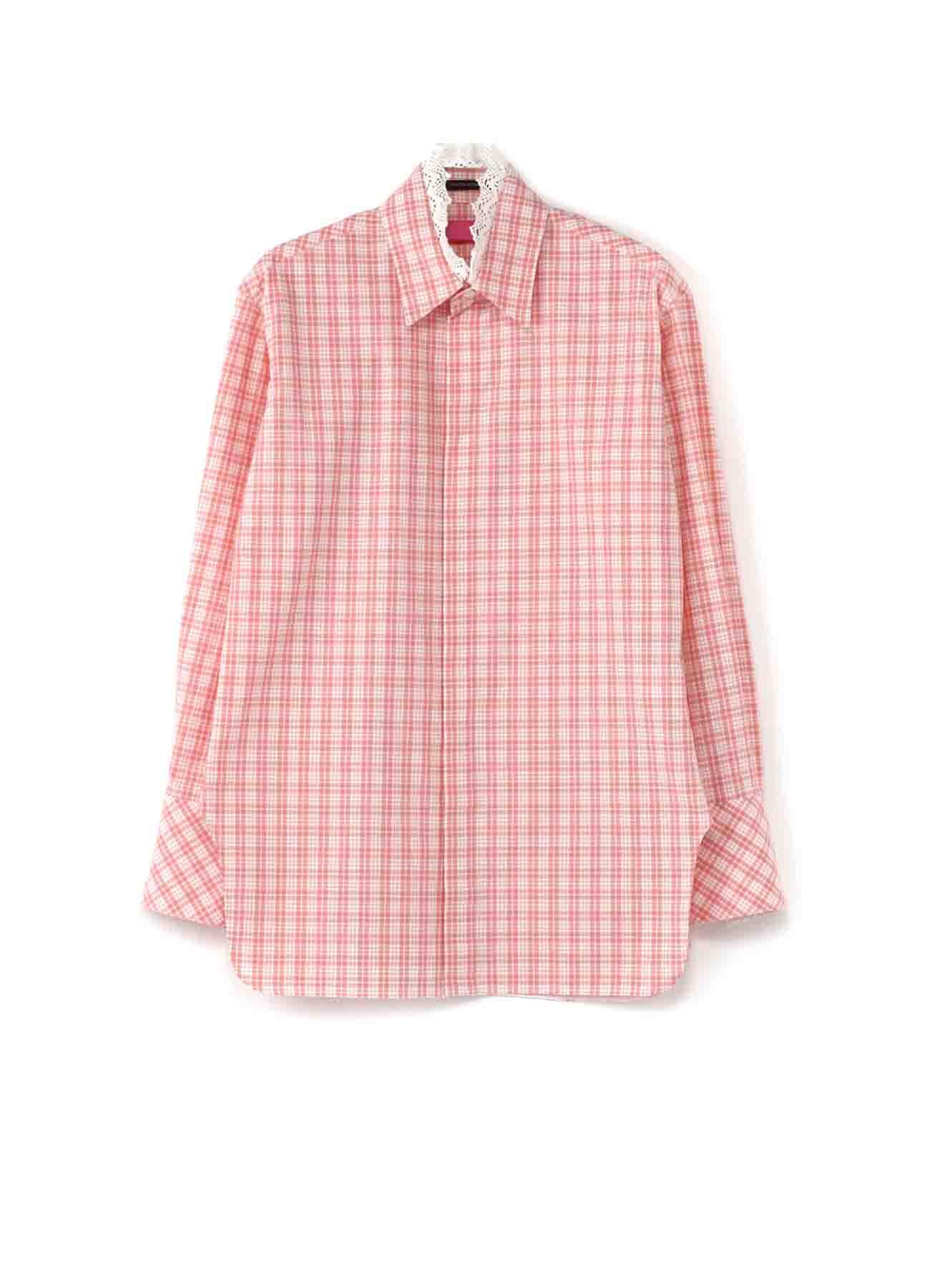 Y'sPINK 綿ギンガムチェック 衿レース付シャツ