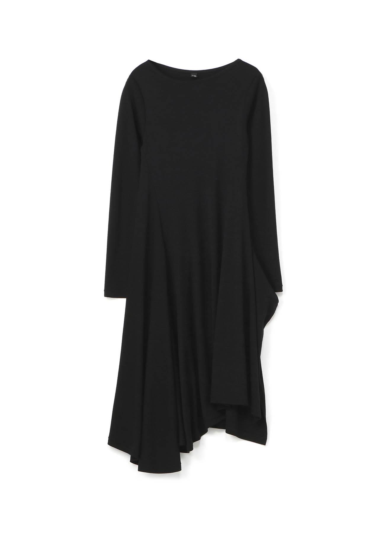 斜线百褶下摆羊毛连衣裙