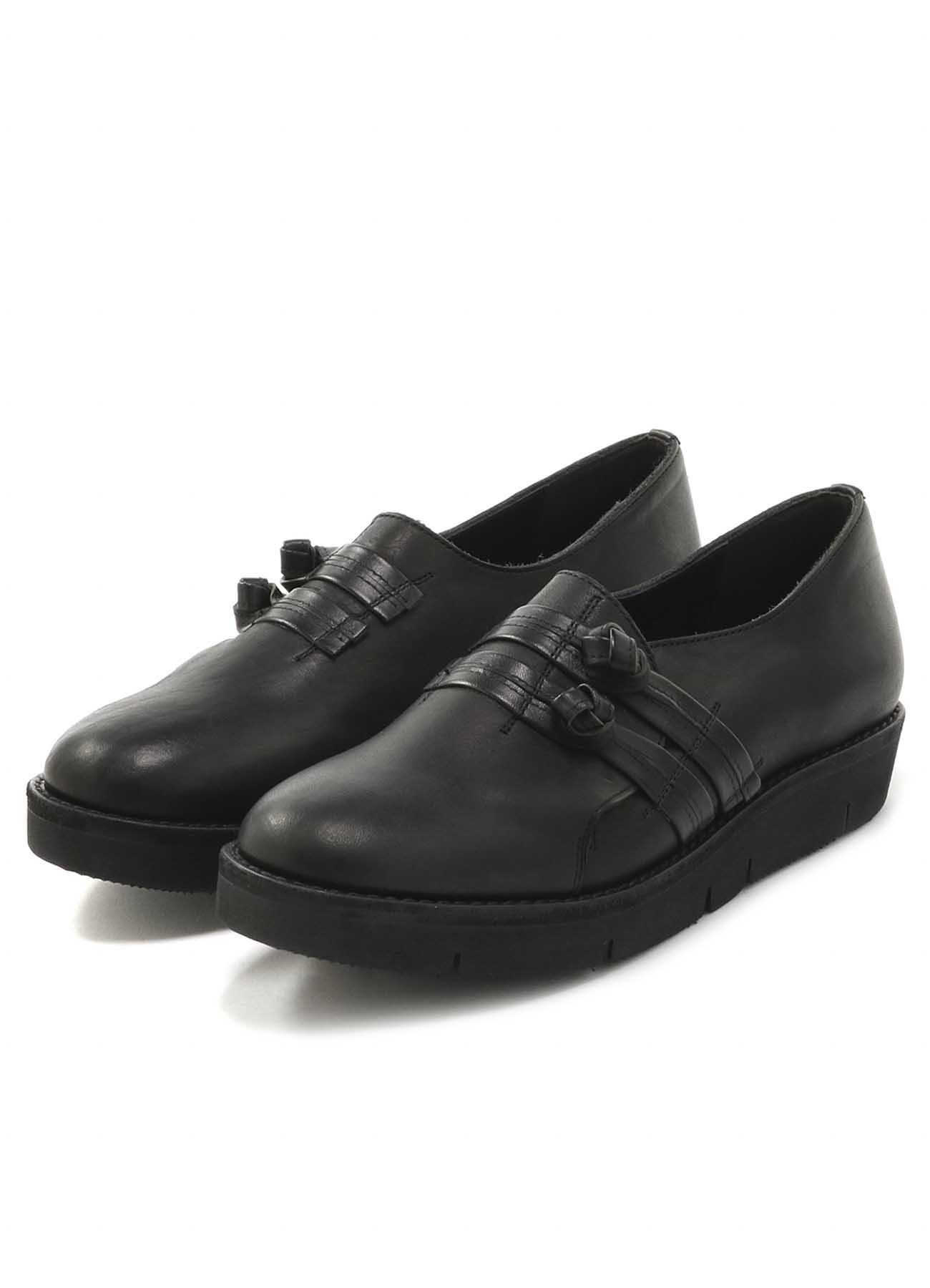 中式盘扣羊皮平底鞋