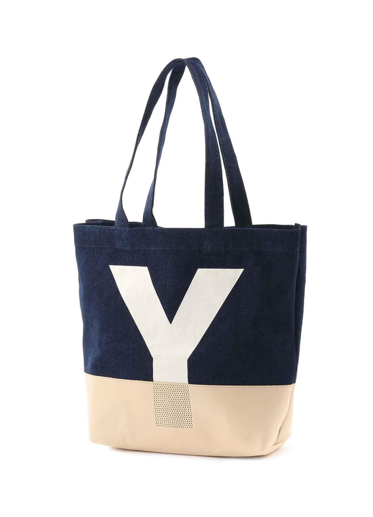 """牛仔布 × 皮革 """"Y""""手提包"""