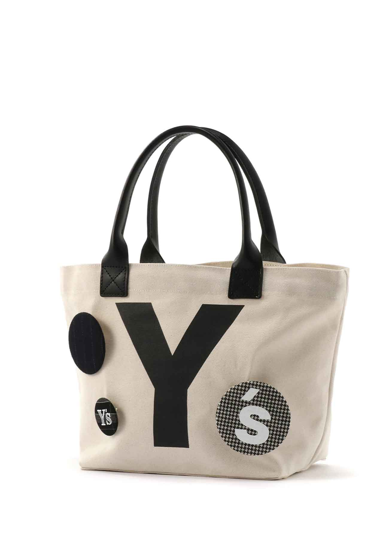 """帆布 x 皮革 """"Y""""徽章手提包"""