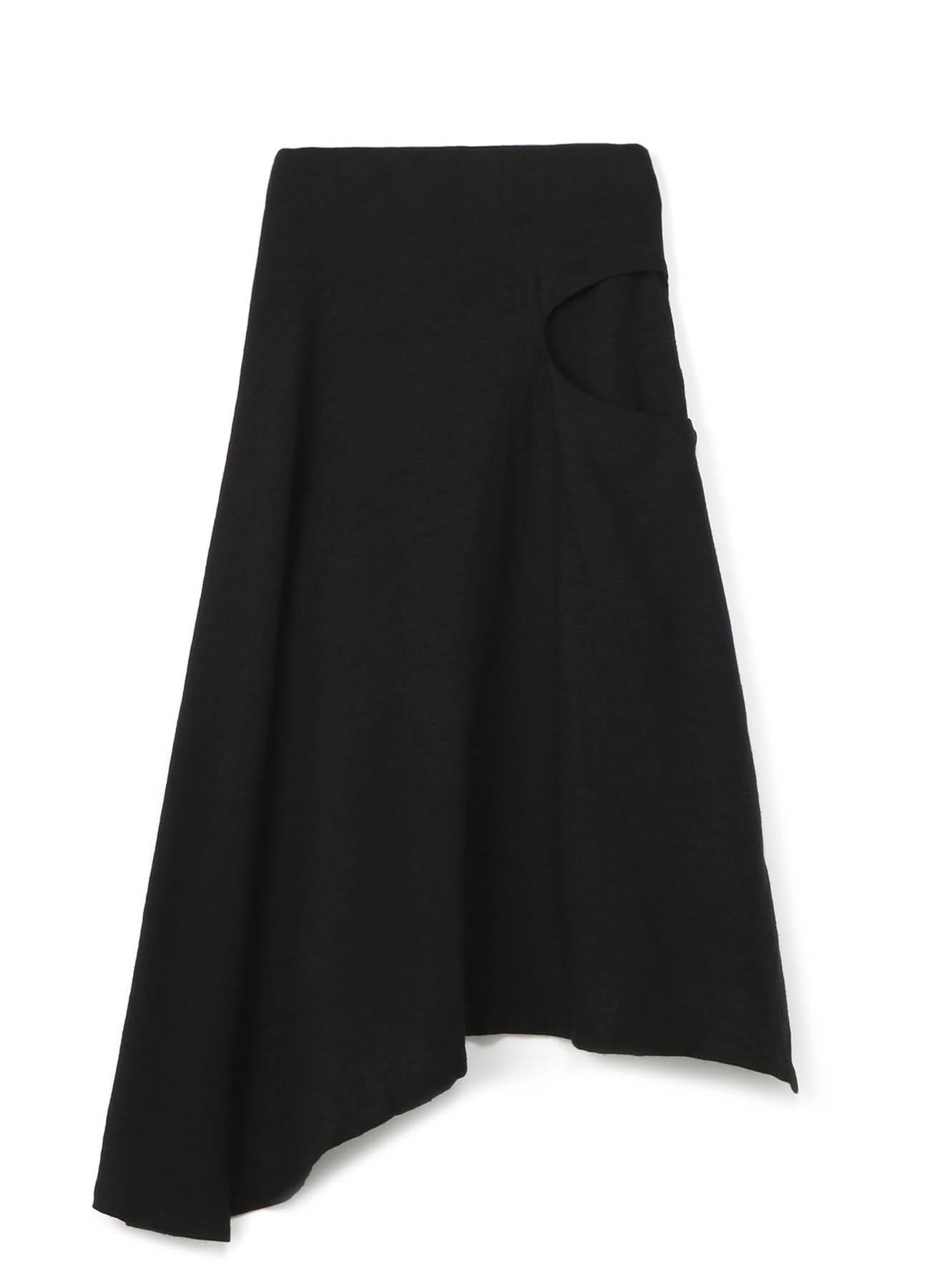 リネンウールヘリンボン 左くり抜きスカート