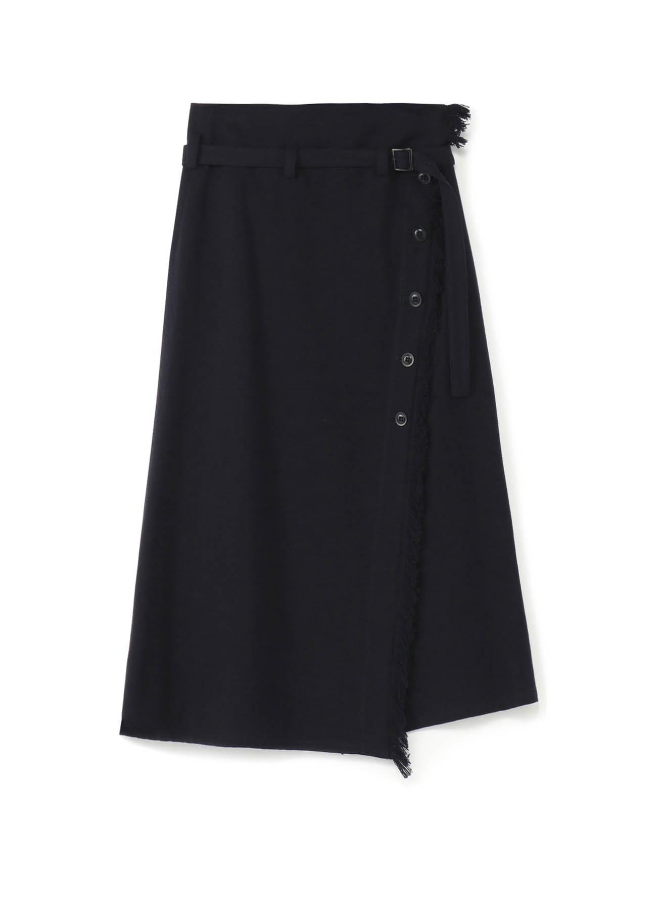 斜线纽扣·腰带不对称设计半身裙
