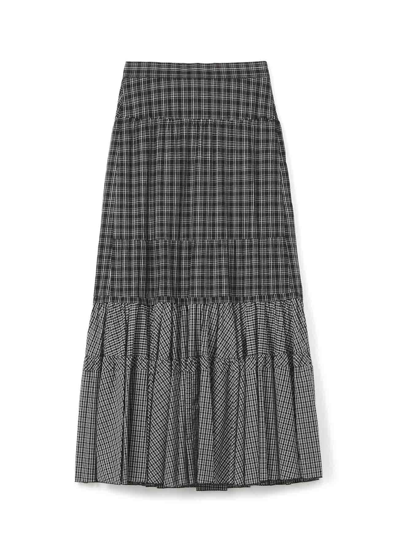 Y'SPINK棉质格子布荷叶边半身裙