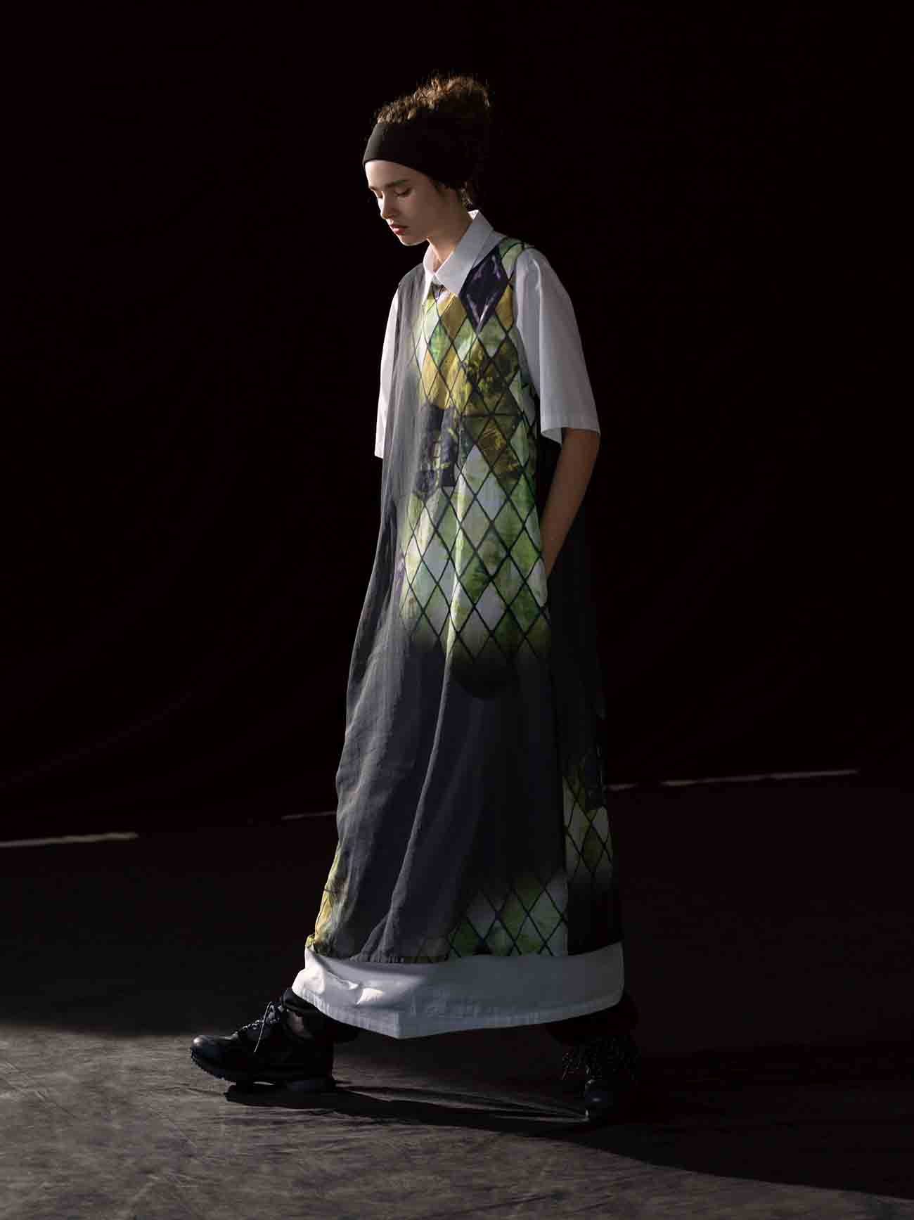 C/BOYLE DIAMOND STAINED GLASS ASYMME SLEEVELESS DRESS