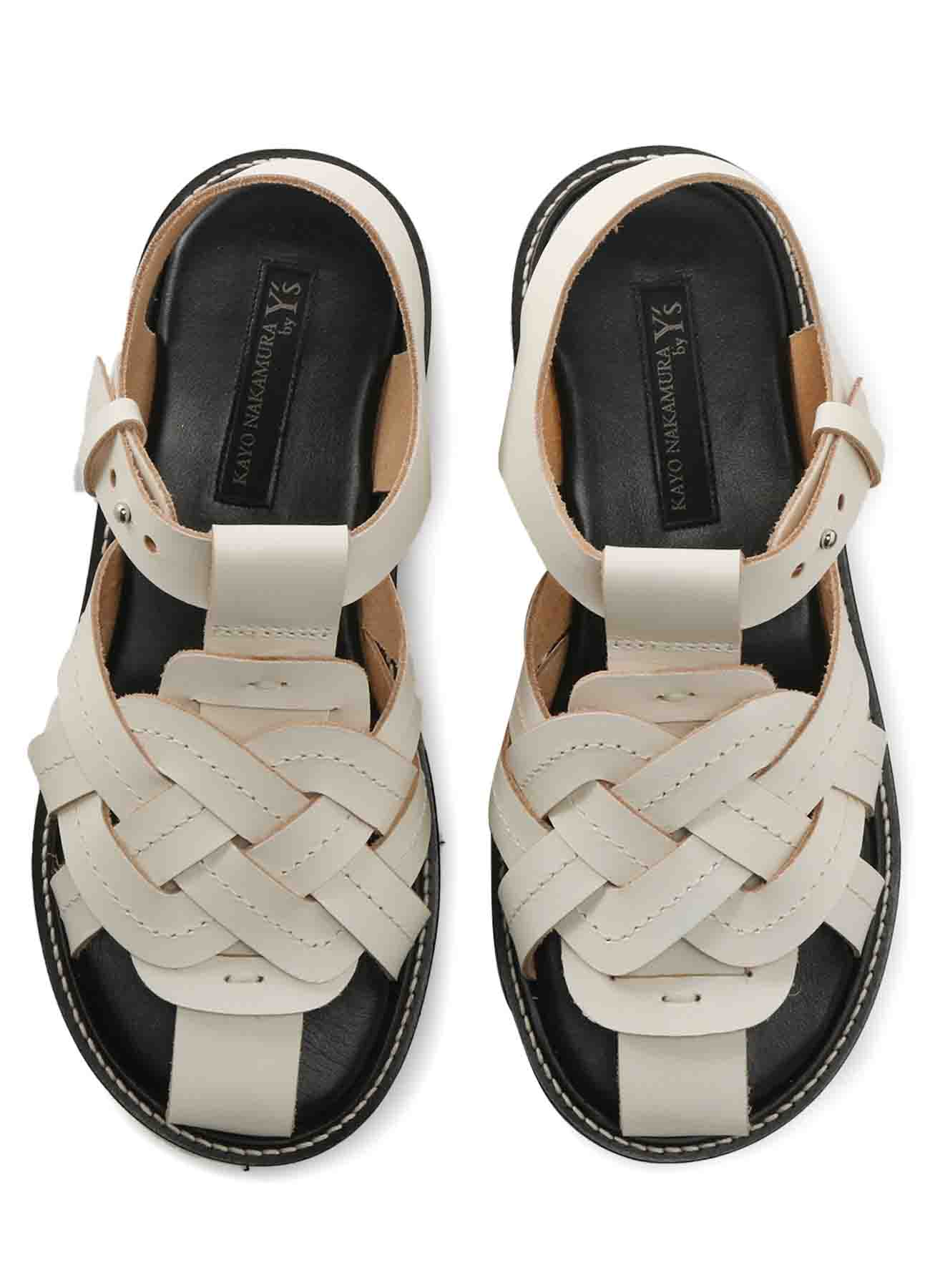THICK NUME LEATHER A KNITTED SANDALS