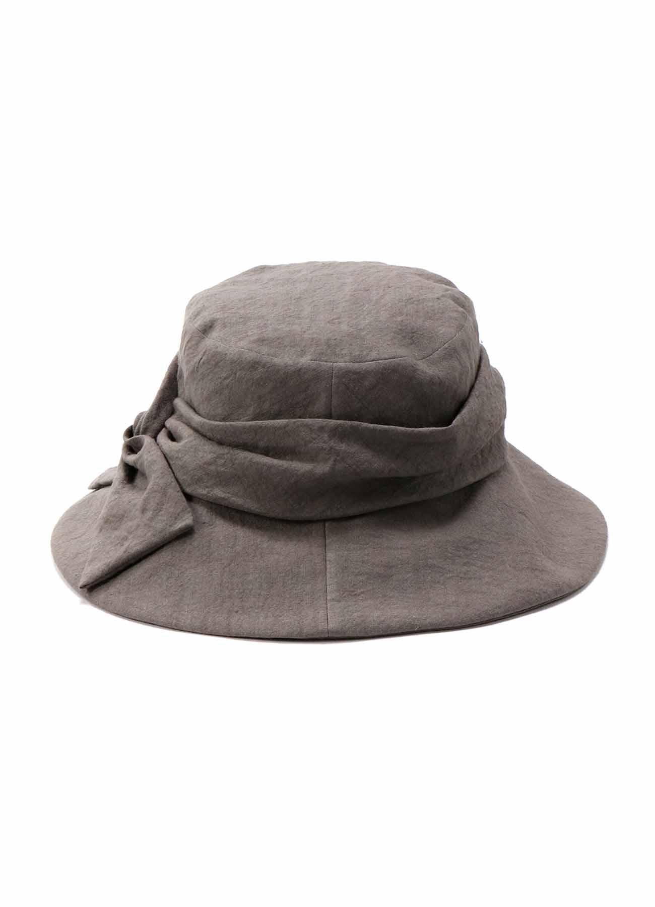 PLAIN WOVEN LINEN RIBBBON HAT