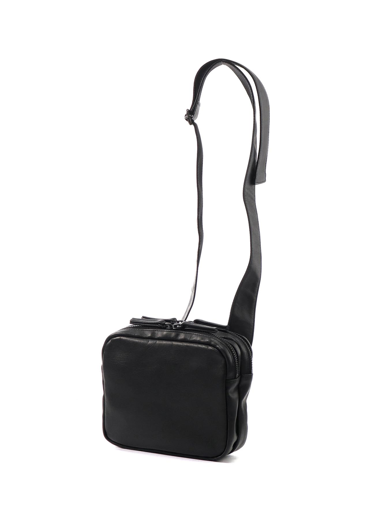 SEMI GLOSS LEATHER B W ZIP LEATHER BODY BAG