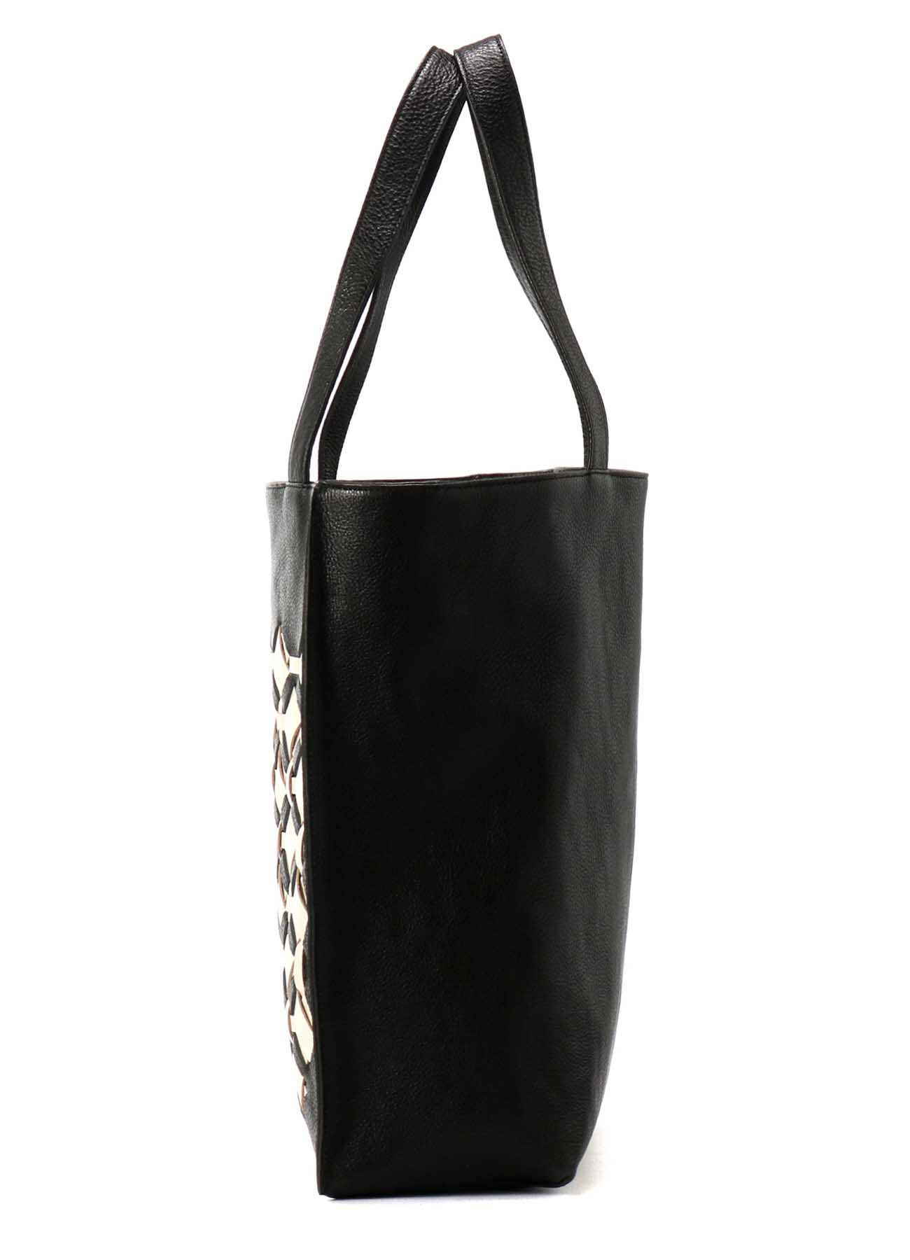 KNITTED LEATHER KNITTED TOTE