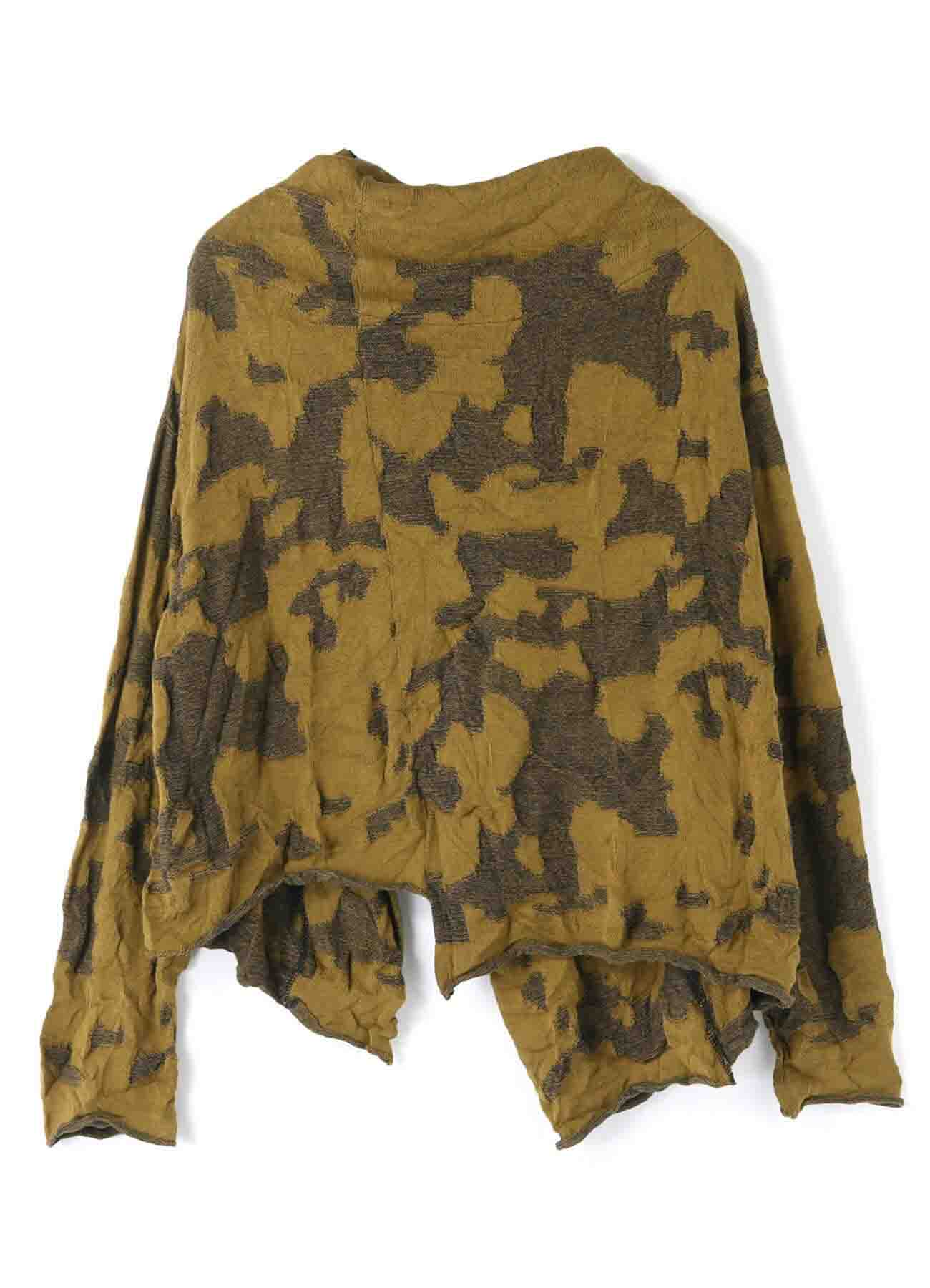 CAMOFLAGE LINKS OFF NECK BUTTON CARDIGAN