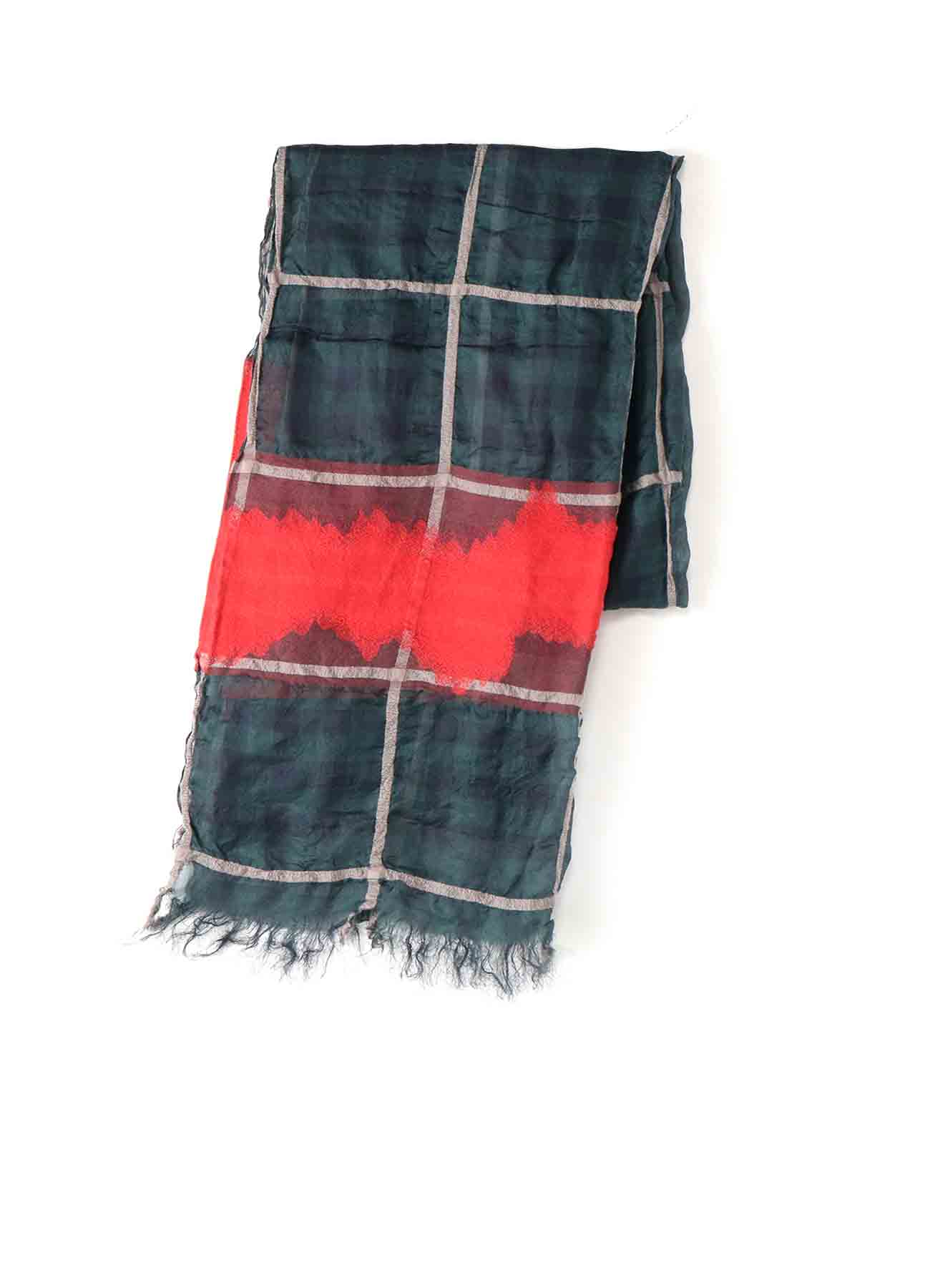 WOOL SILK CHECK JACQUARD STOLE
