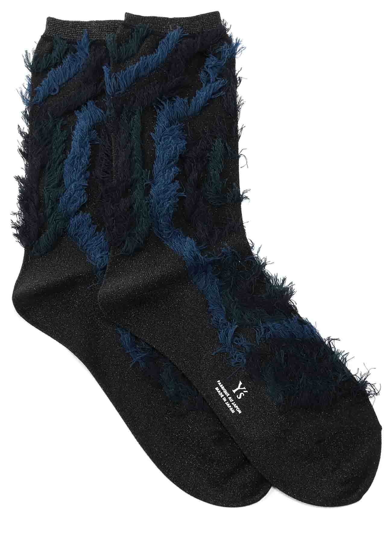 REVERSED CUT VARNISH POLY FRINGE SOCKS