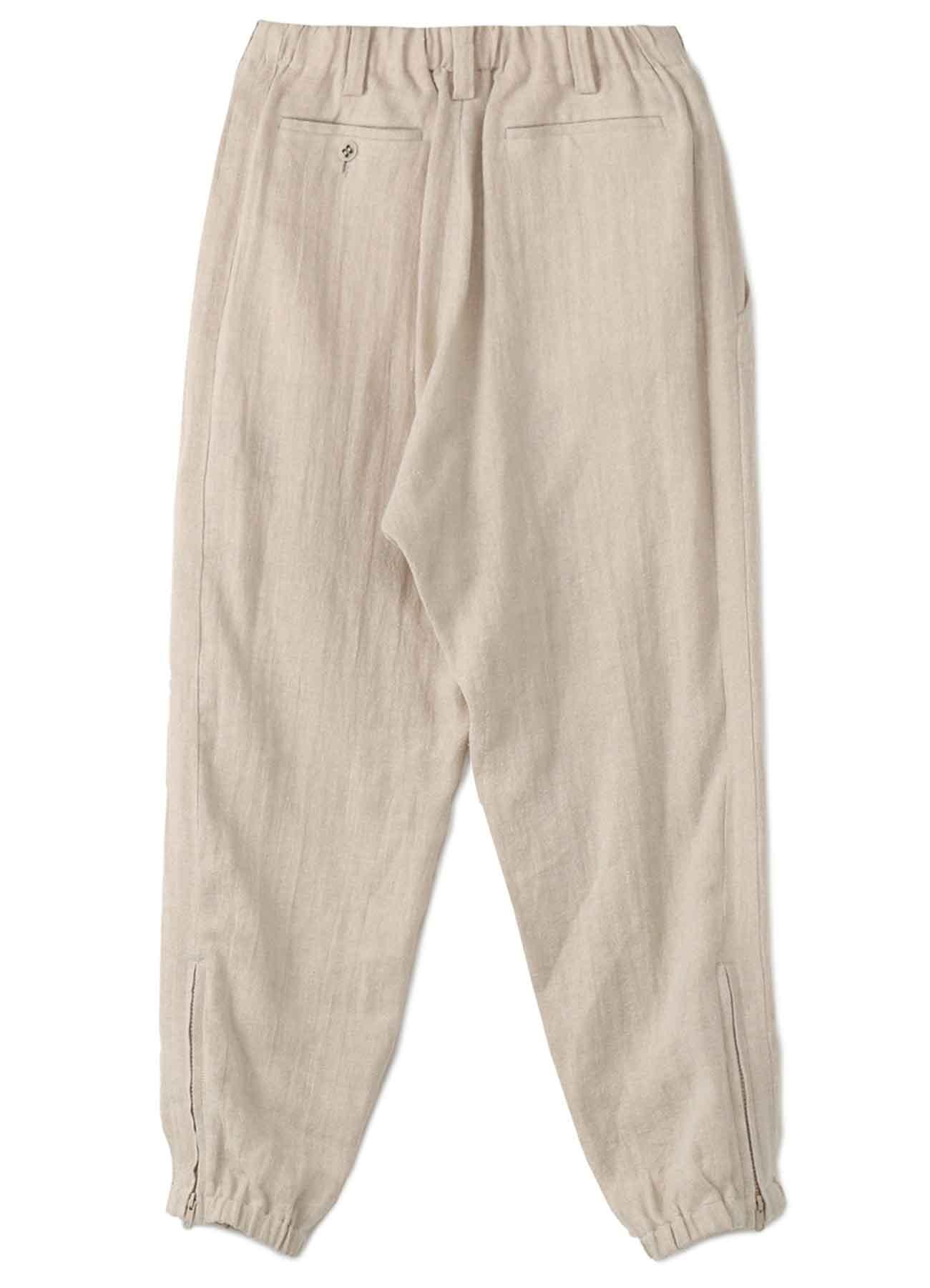 CLASSIC SILK NEP LINEN HERRINGBONE SIDE STRIPE PANTS