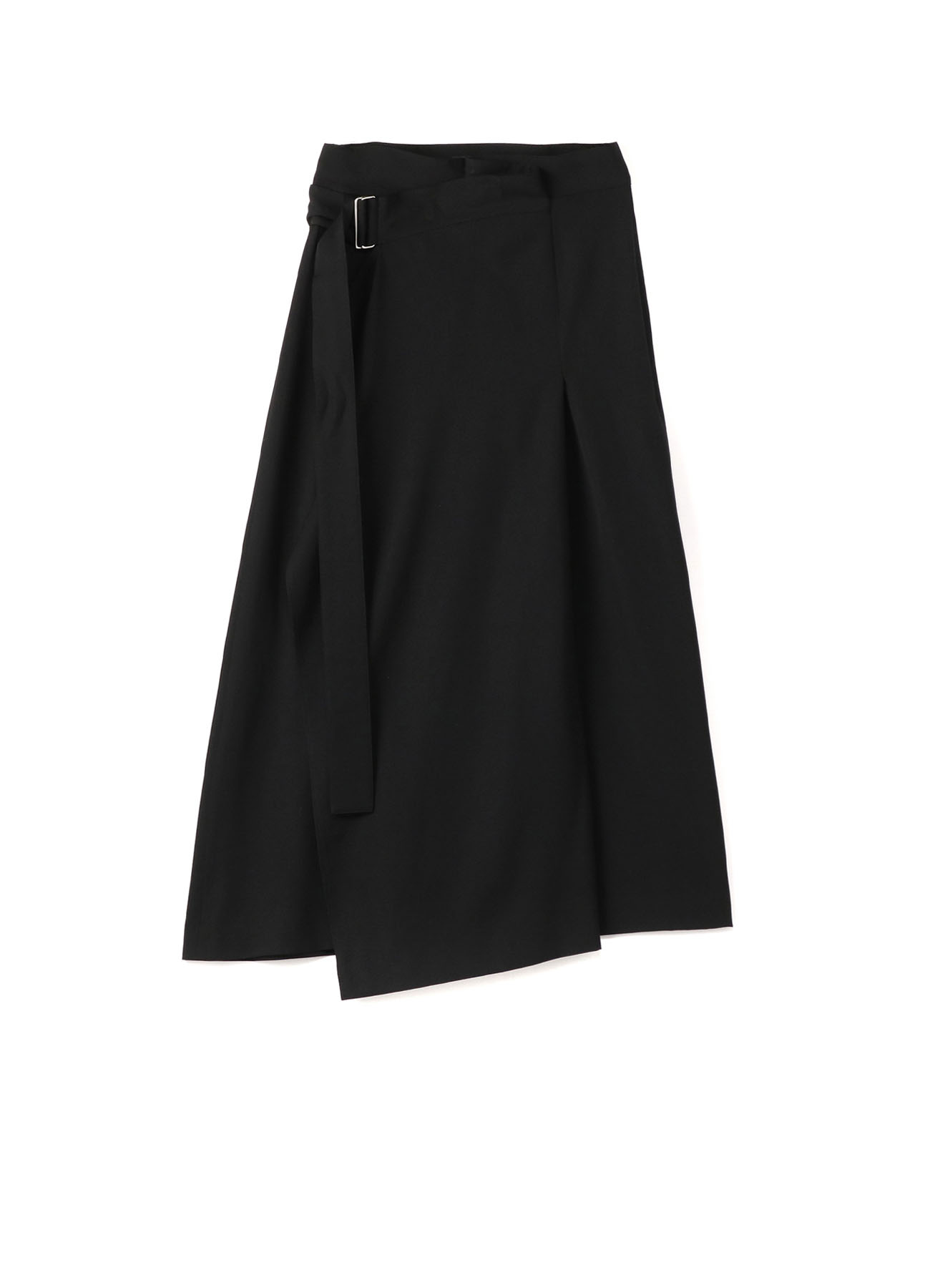 WOOL GABARDINE DOUBLE BELT SKIRT