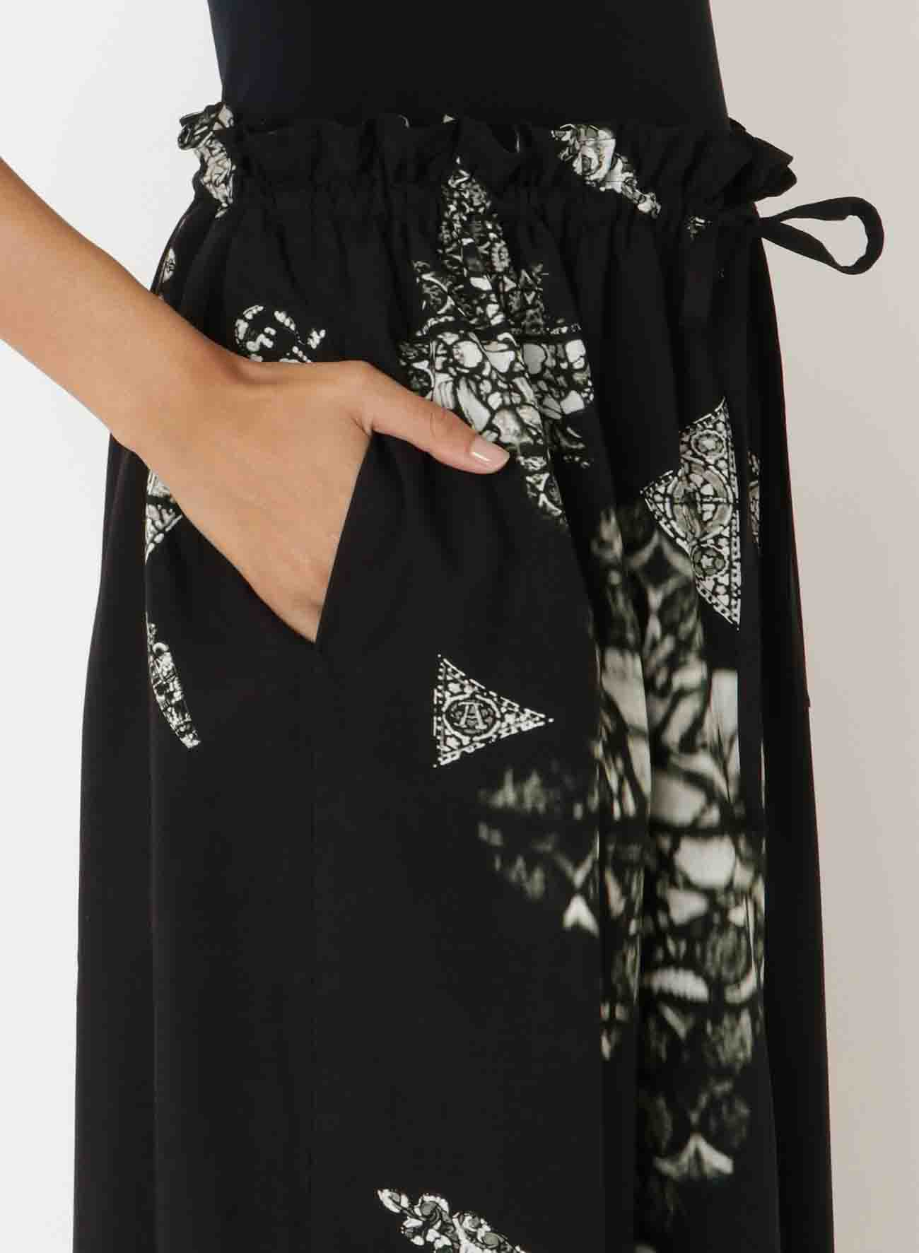 Ry/LAWN MONOCHROME STAINED GLASS SLIT GATHERED SKIRT