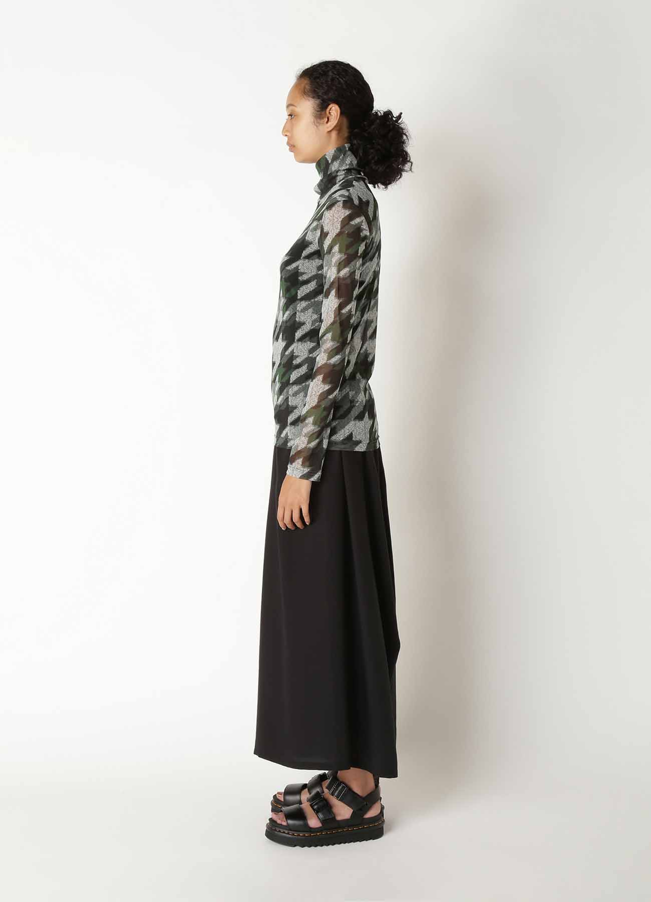 Pe TULLE HOUNSTOOTH CHECK PRINT HIGH NECK LONG SLEEVE T