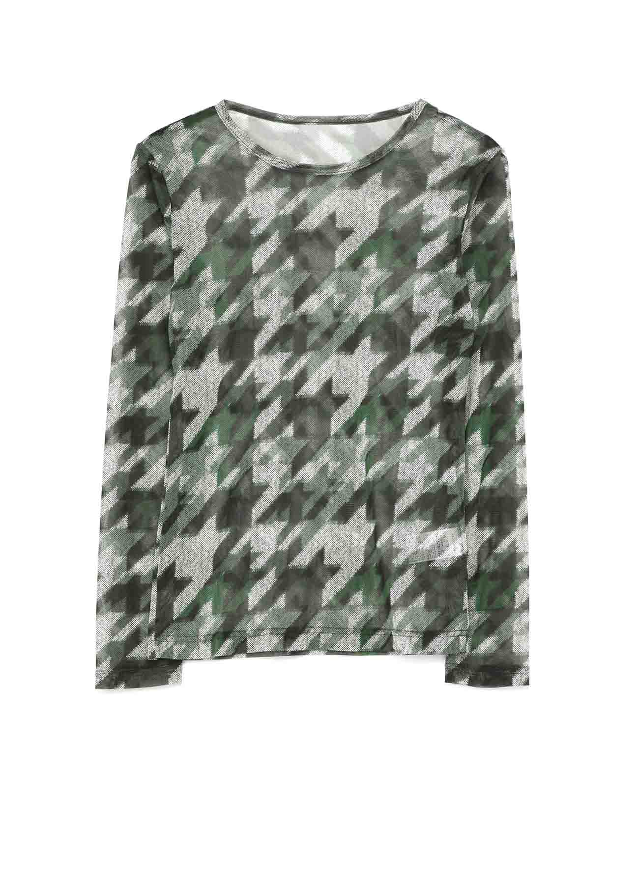 Pe TULLE HOUNSTOOTH CHECK PRINT TULLE LONG SLEEVE T