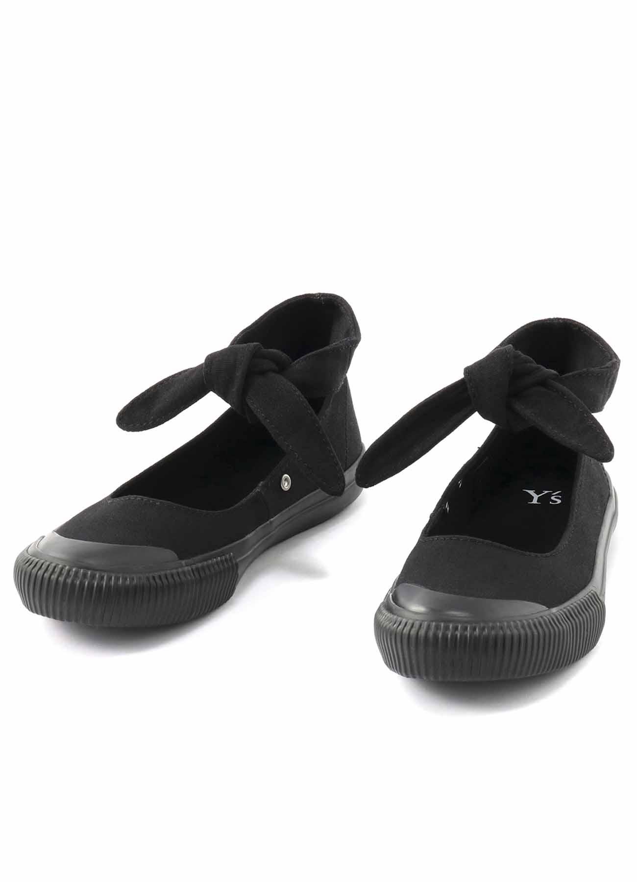 蝴蝶结厚底帆布鞋