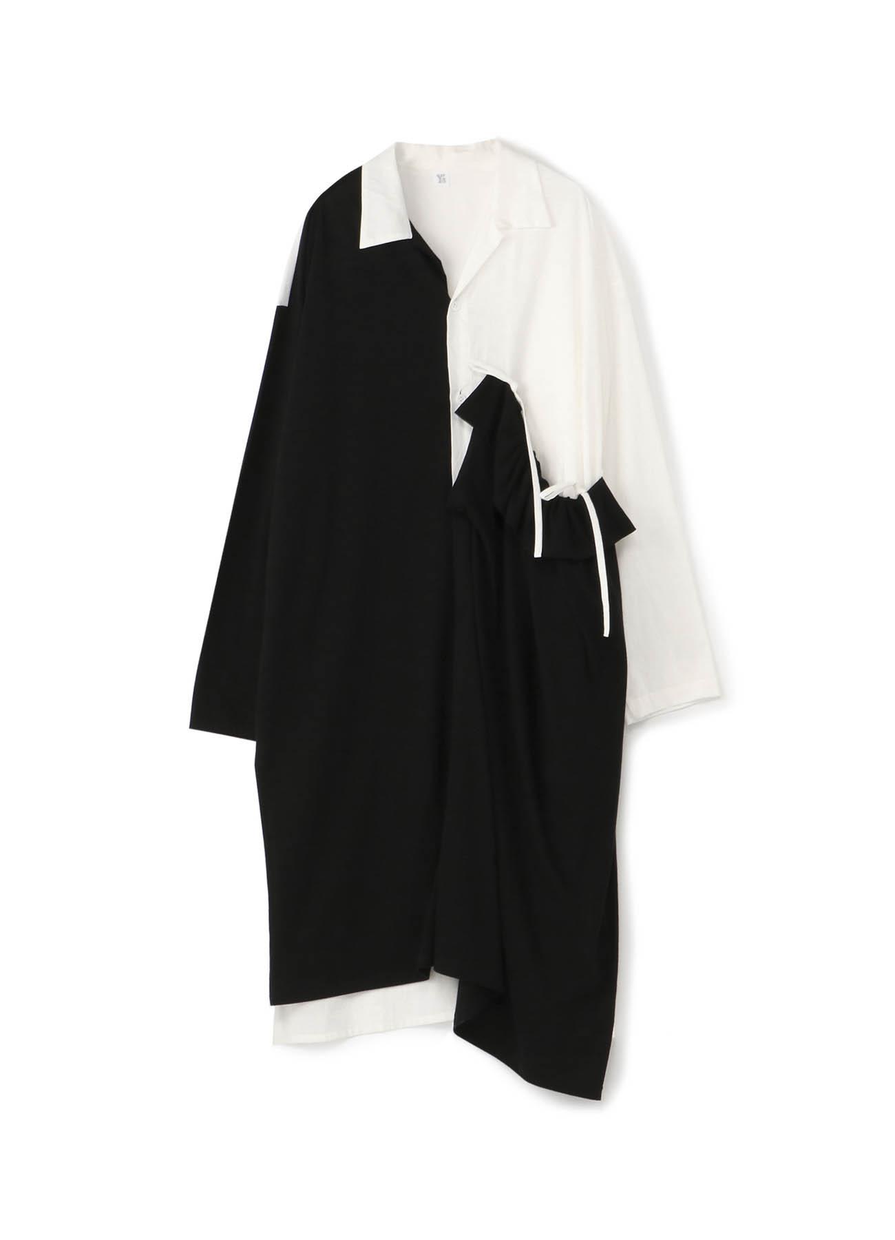 ローンパウダースノーワッシャー 左ギャザーシャツドレス