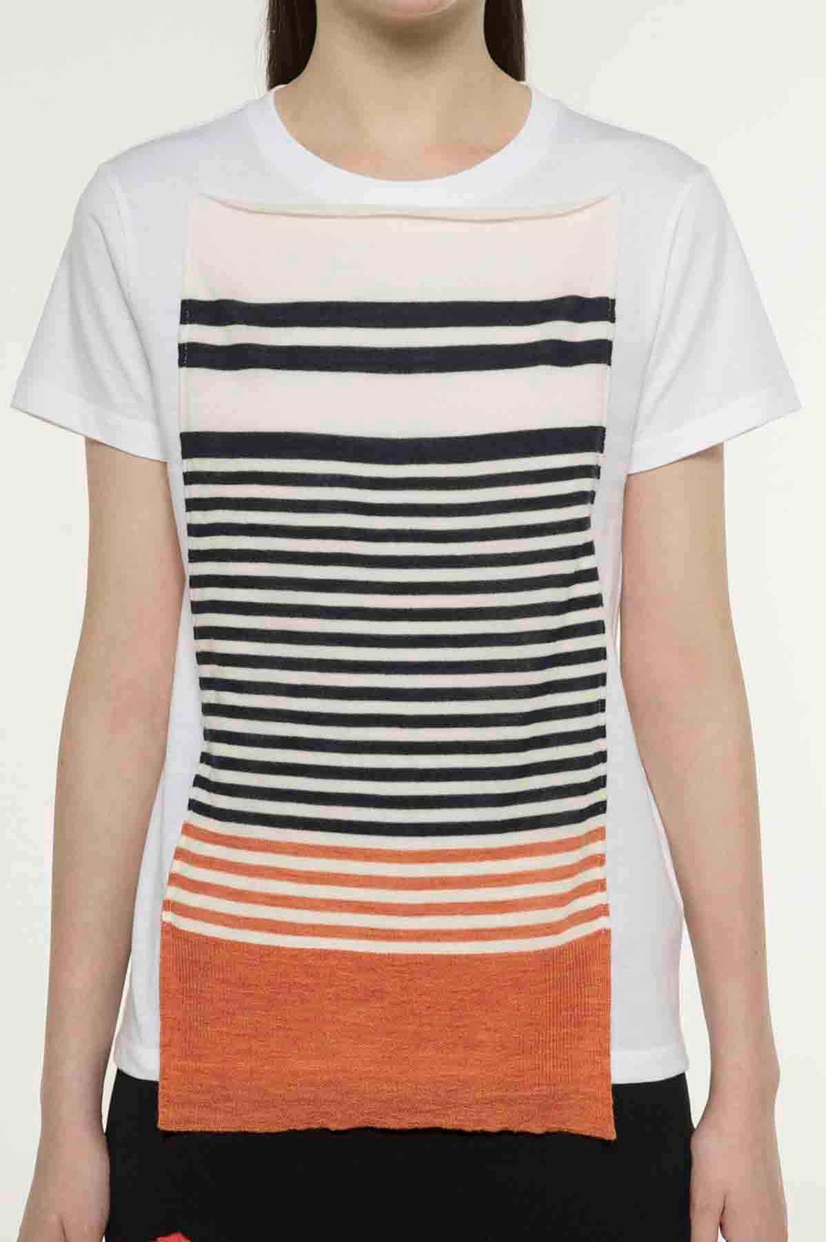 RISMATbyY这款棉质短袖T恤采用边框针织设计