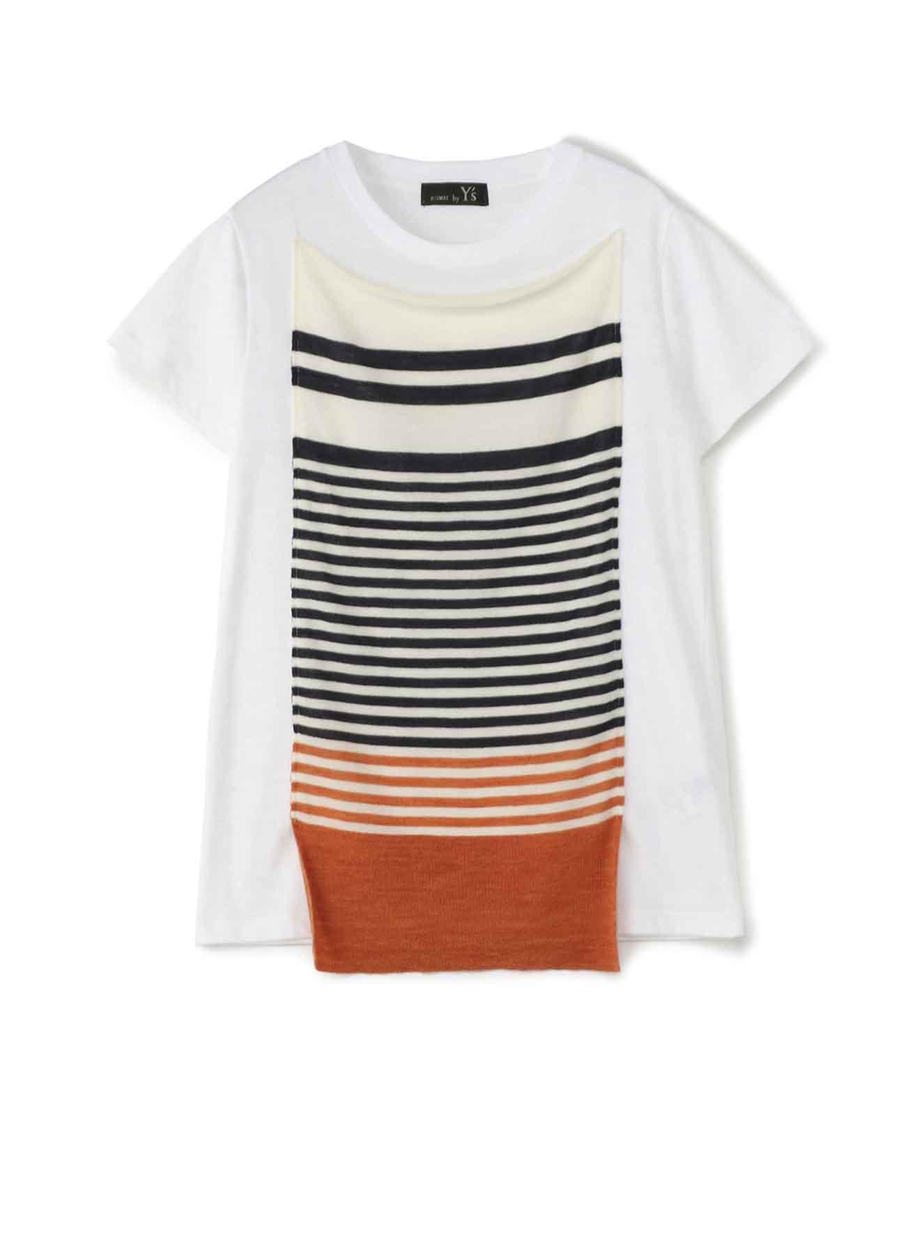 RISMATbyY's 綿天竺 ボーダーニット付半袖Tシャツ