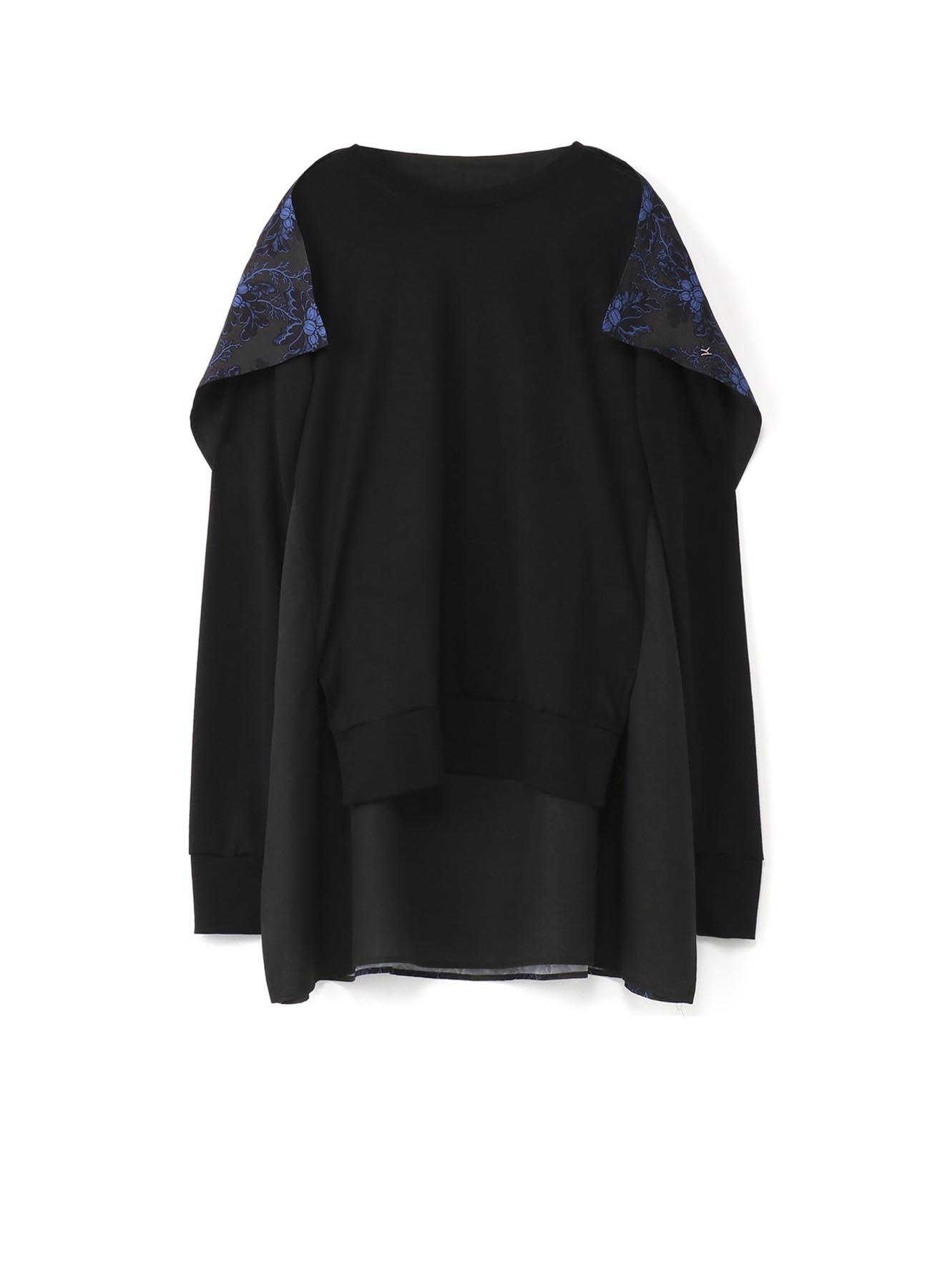 Y'sPINK ウールx花柄更紗プリント 貼付けロングTシャツ